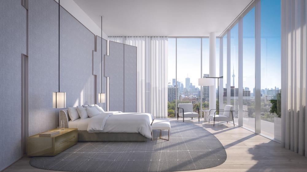 Bedroom overlooking view of Toronto in 346 Davenport Condos