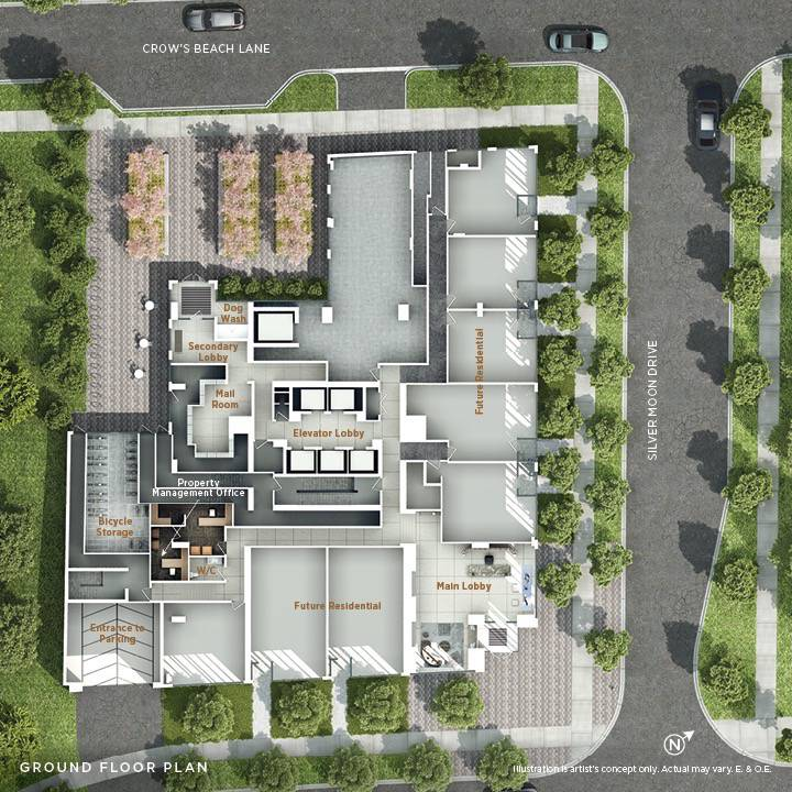 Top down view of the ground floor at Vita on the Lake Condos