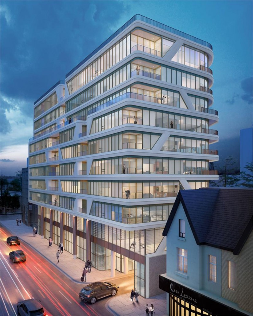 Exterior rendering at dusk at Avenue 151 Yorkville