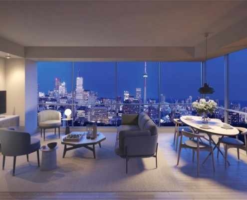 View from inside a suite at Blue Diamond Condos