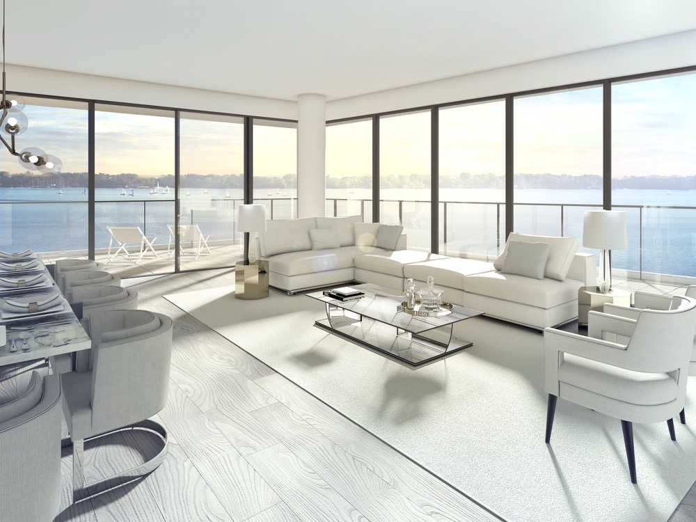 Living Room rendering overlooking Lake Ontario at Aquabella Condos