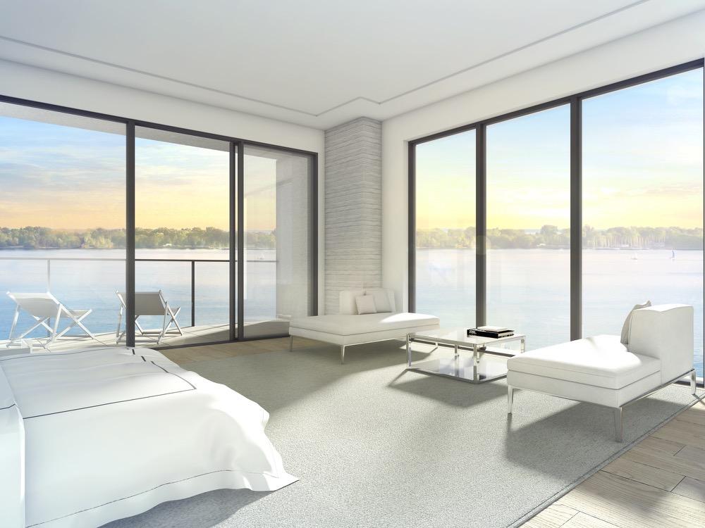 Bedroom rendering overlooking Lake Ontario at Aquabella Condos