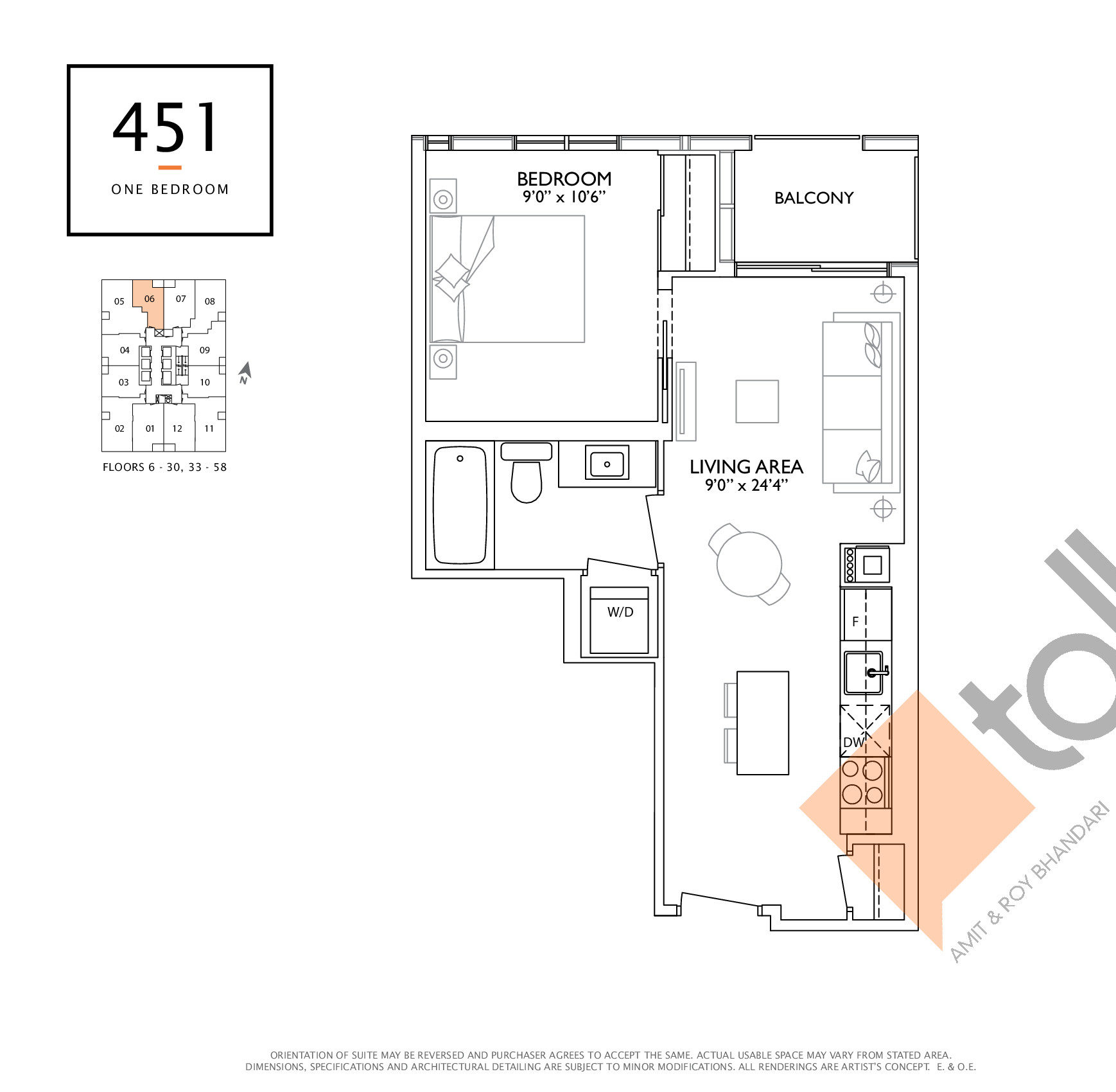 451 Floor Plan at 1 Yorkville Condos - 451 sq.ft