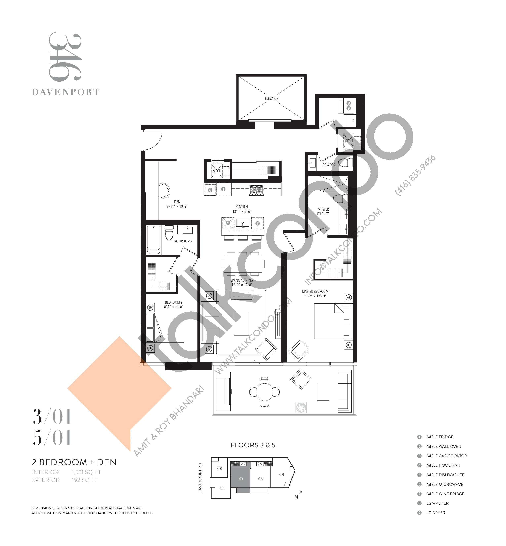 301 Floor Plan at 346 Davenport Condos - 1531 sq.ft