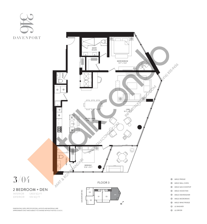 304 Floor Plan at 346 Davenport Condos - 1903 sq.ft