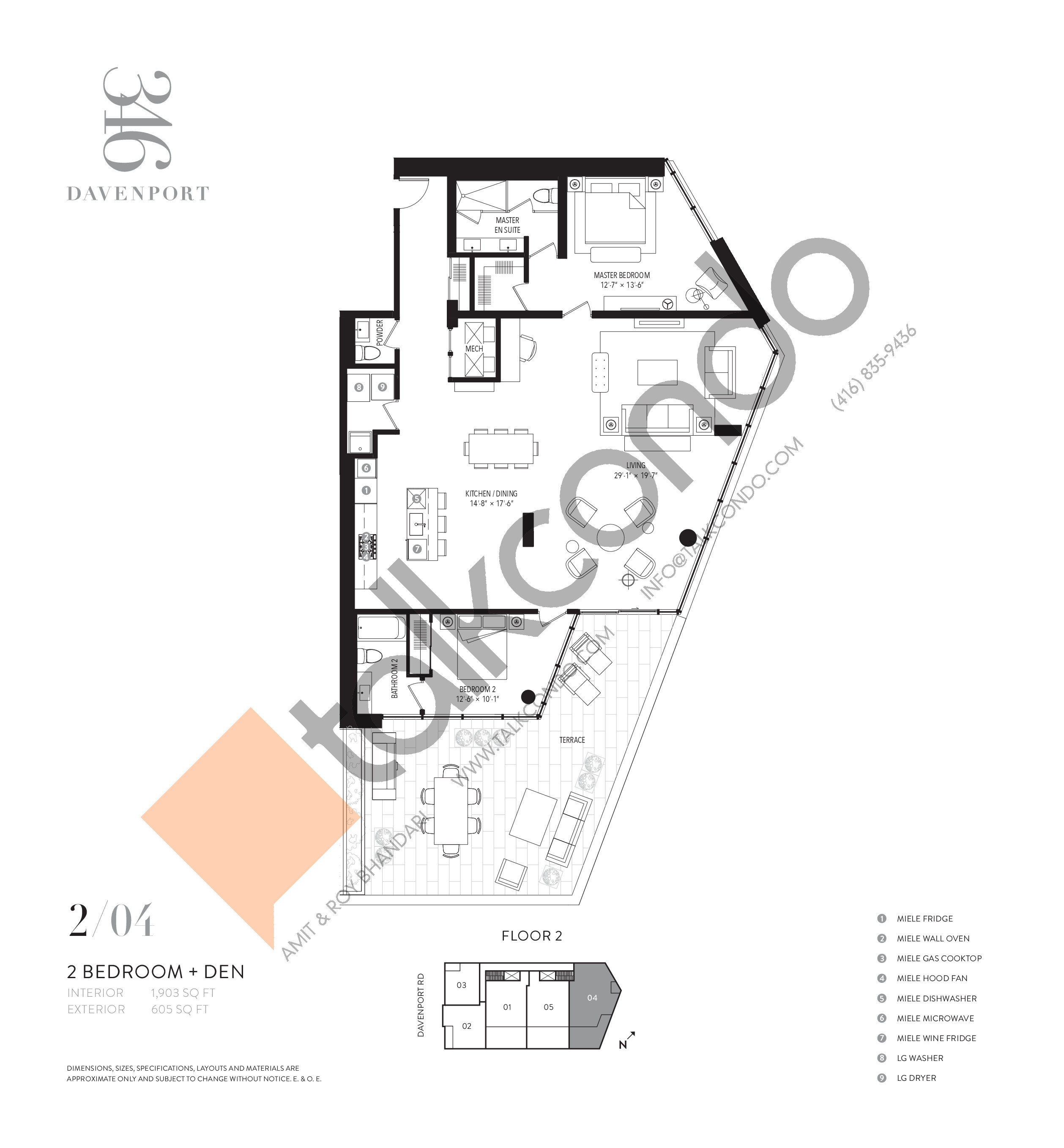 204 Floor Plan at 346 Davenport Condos - 1903 sq.ft