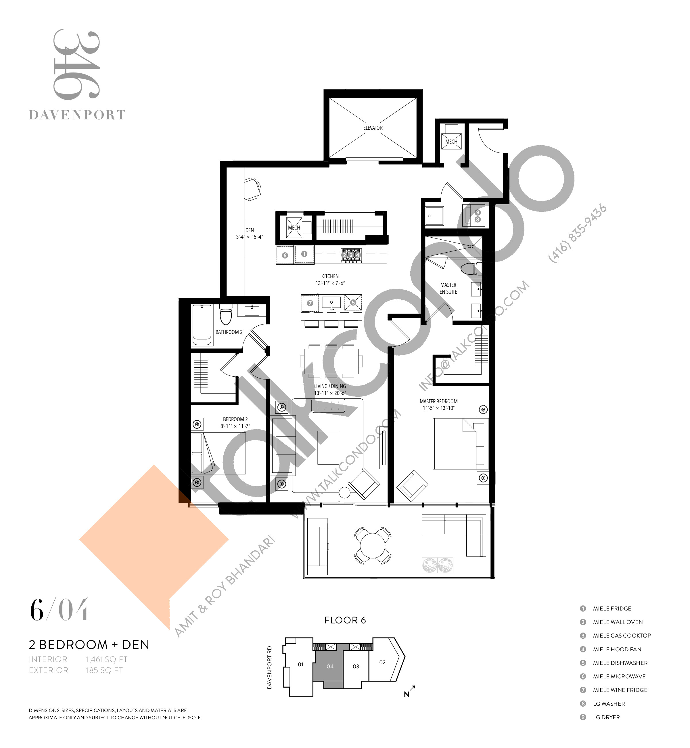 604 Floor Plan at 346 Davenport Condos - 1461 sq.ft