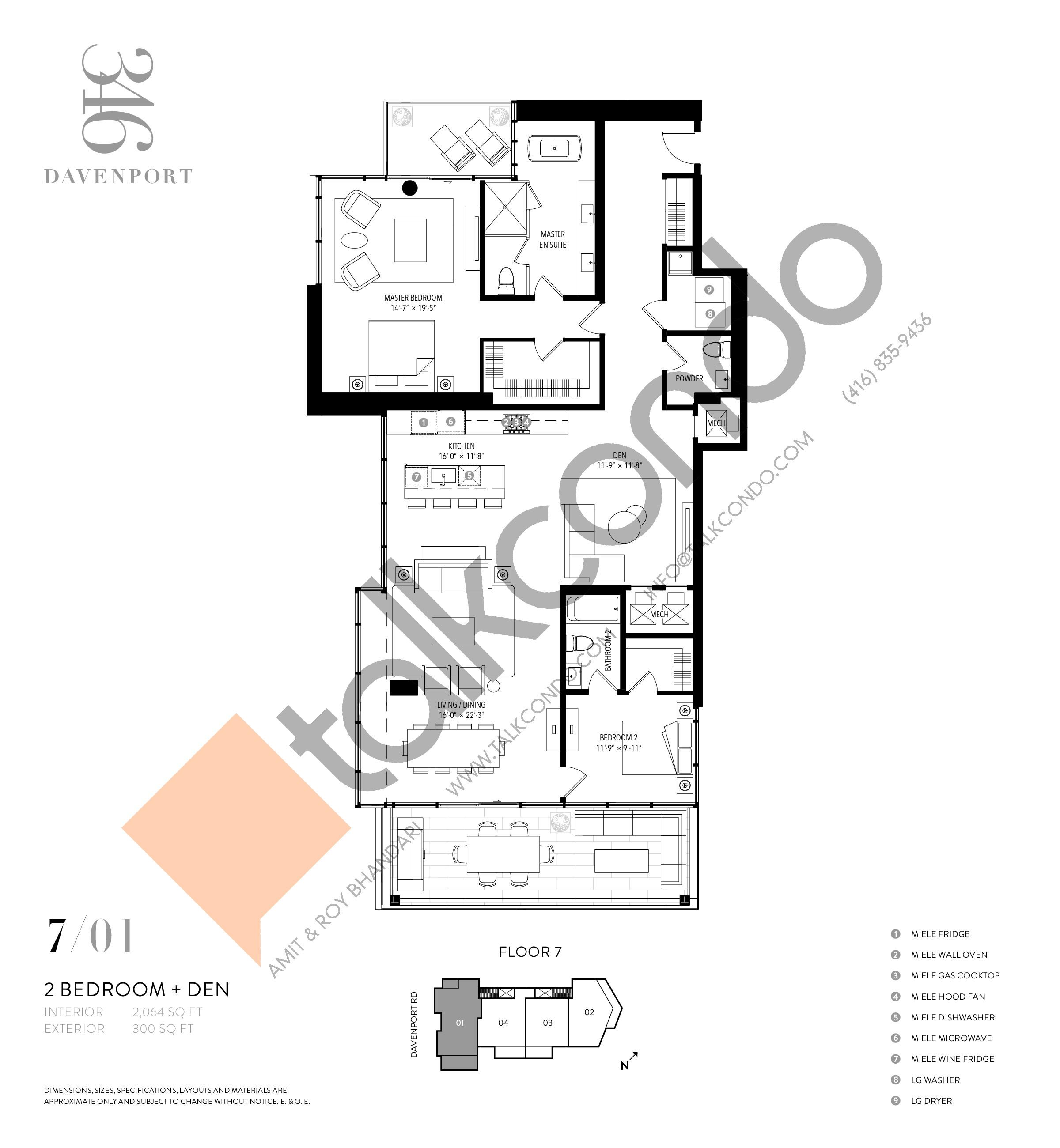 701 Floor Plan at 346 Davenport Condos - 2064 sq.ft