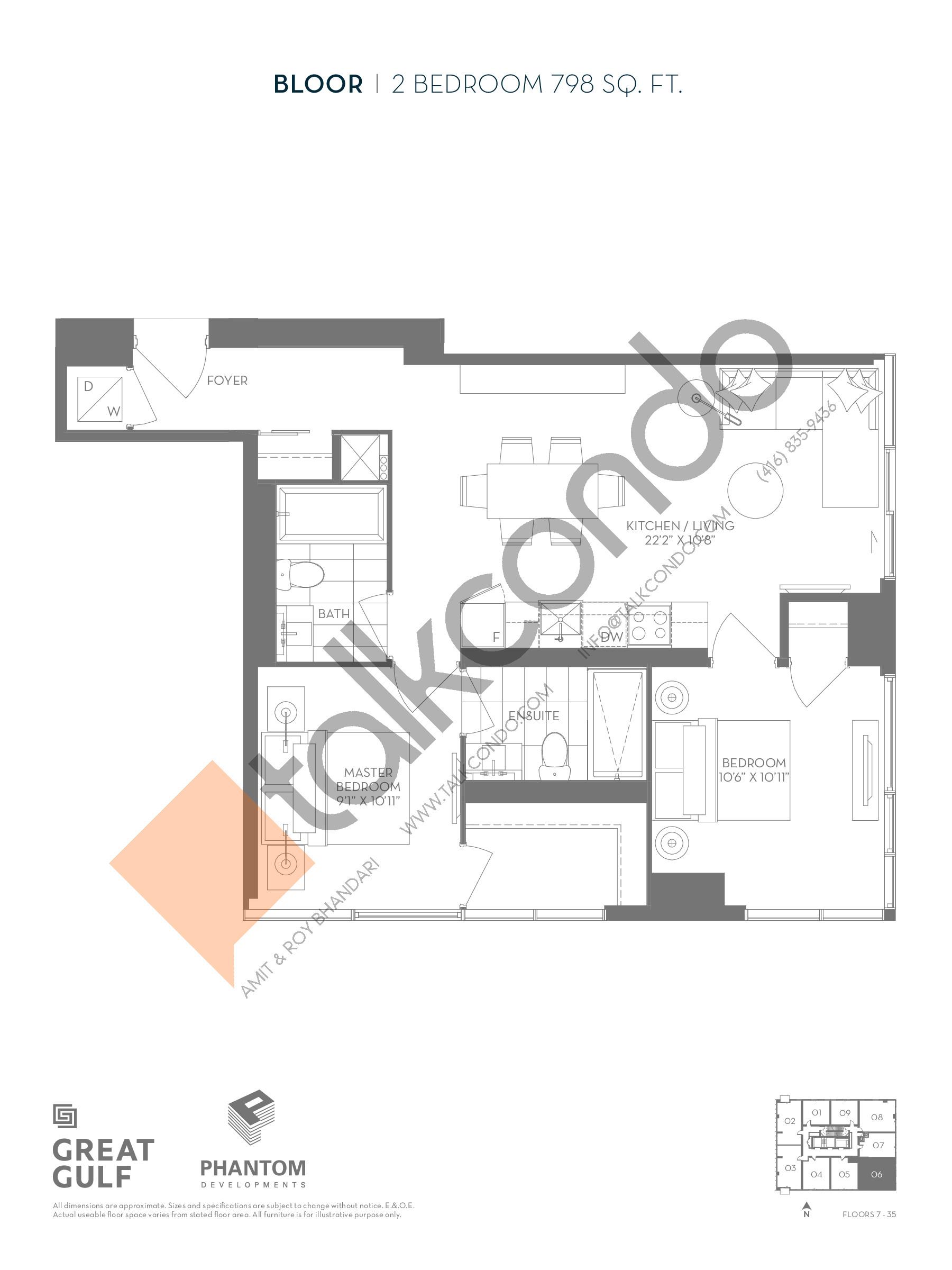 Bloor Floor Plan at 8 Cumberland Condos - 798 sq.ft