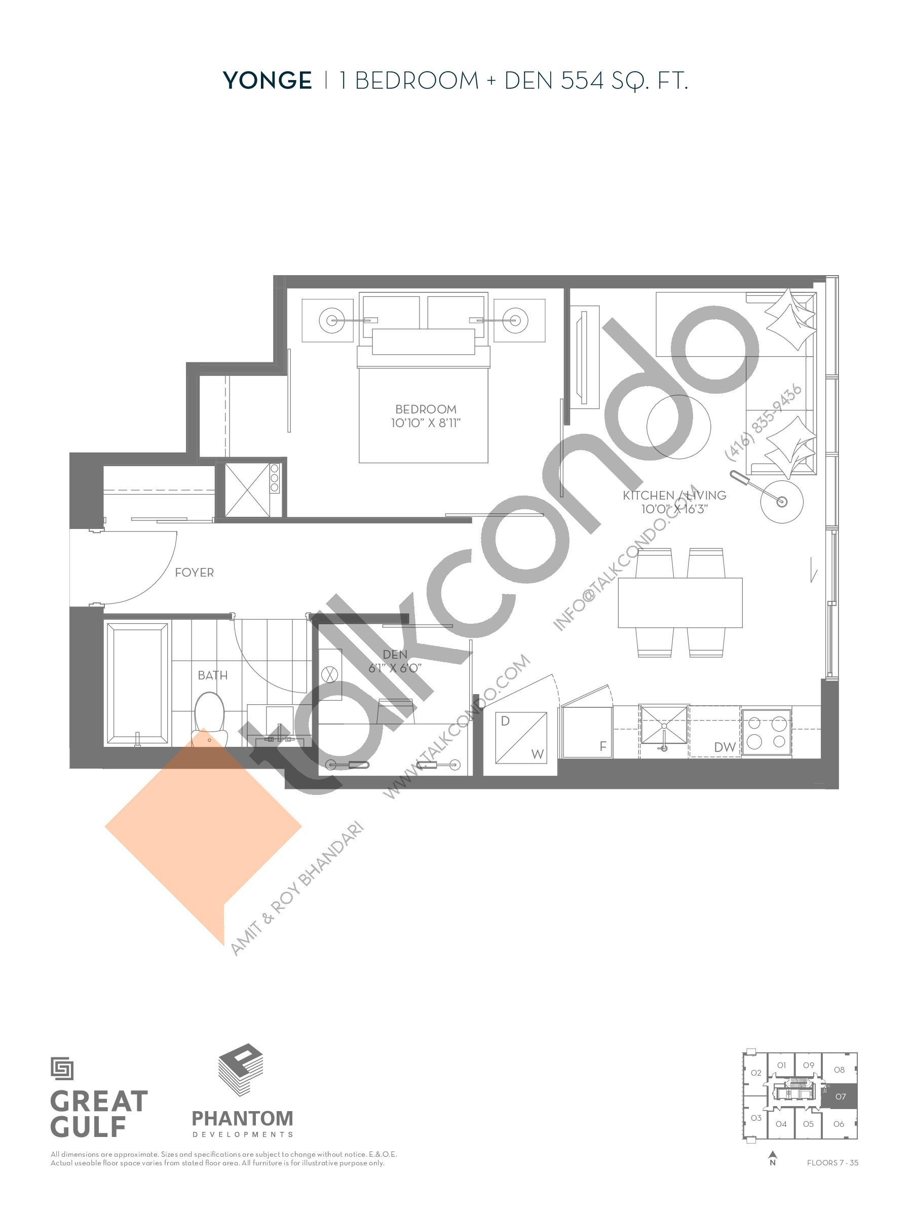 Yonge Floor Plan at 8 Cumberland Condos - 554 sq.ft