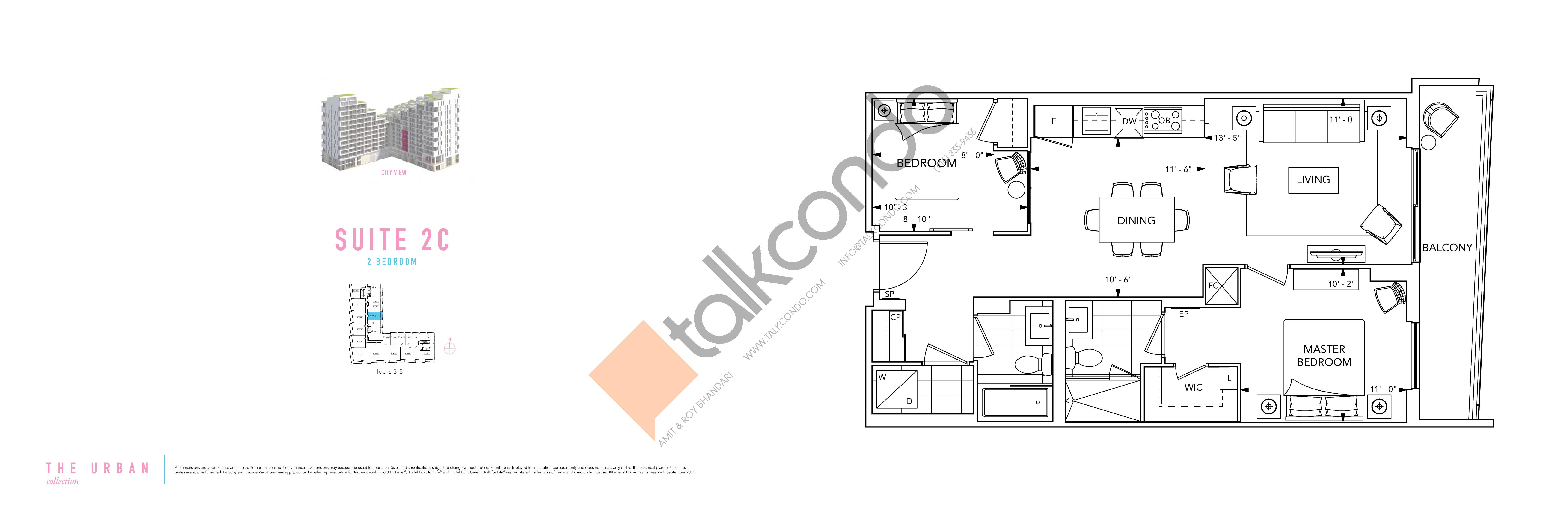 Suite 2C Floor Plan at Aquabella Condos - 809 sq.ft