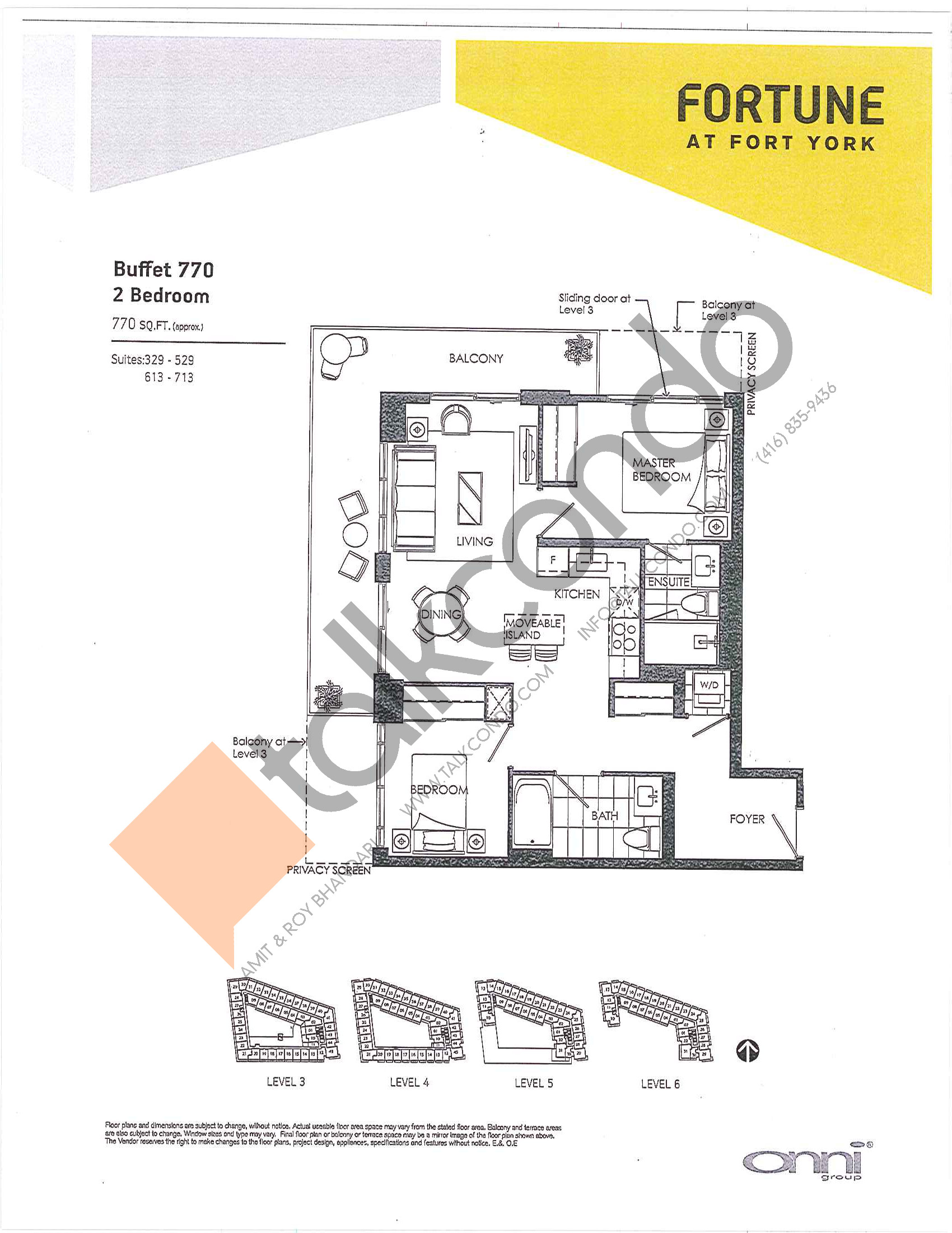 Buffet 770 Floor Plan at Fortune at Fort York - 770 sq.ft