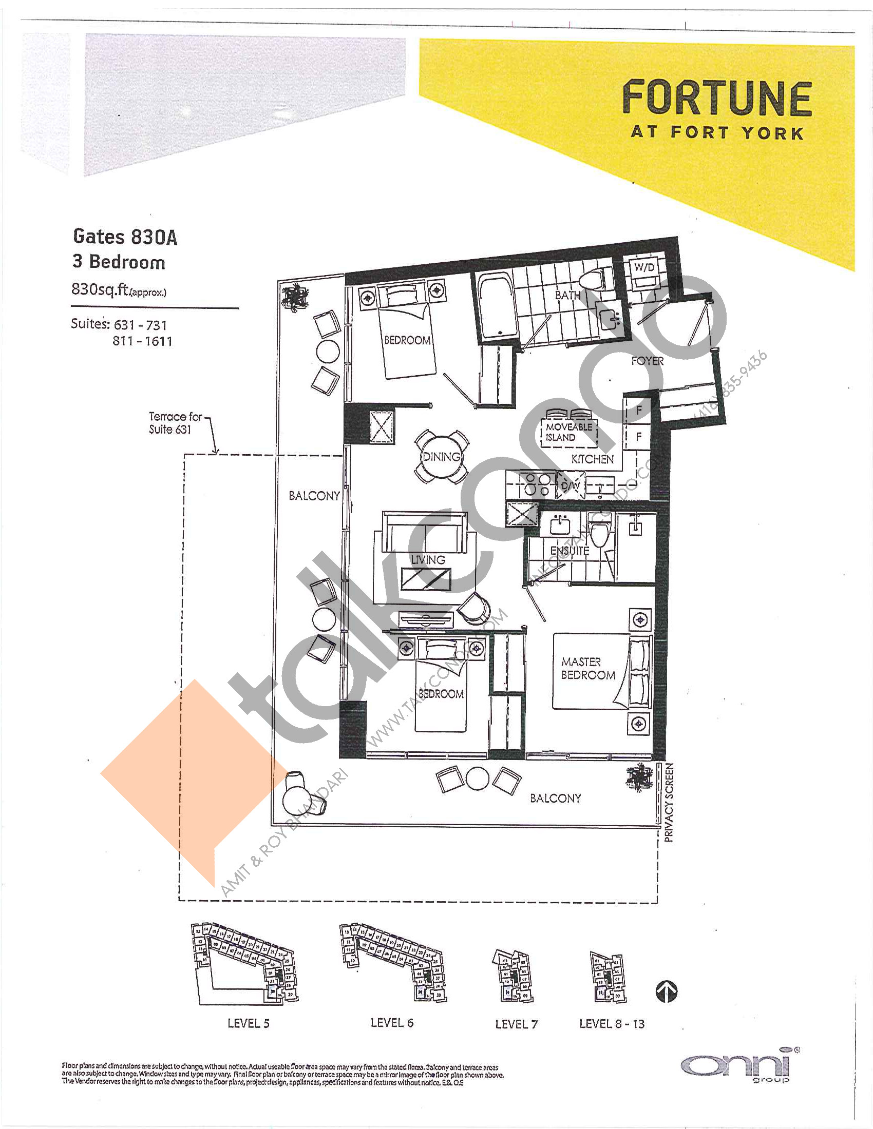 Gates 830A Floor Plan at Fortune at Fort York - 830 sq.ft