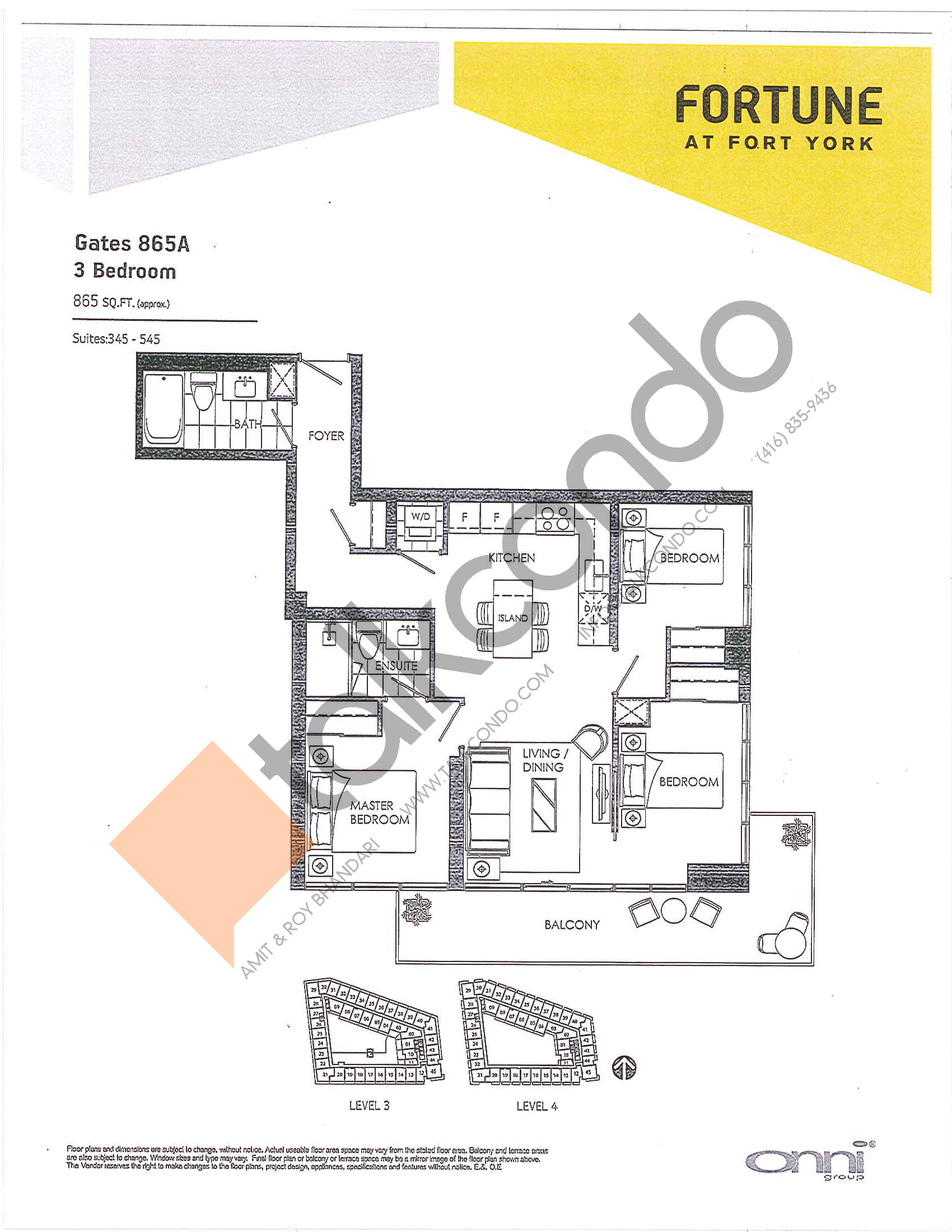 Gates 865A Floor Plan at Fortune at Fort York - 865 sq.ft