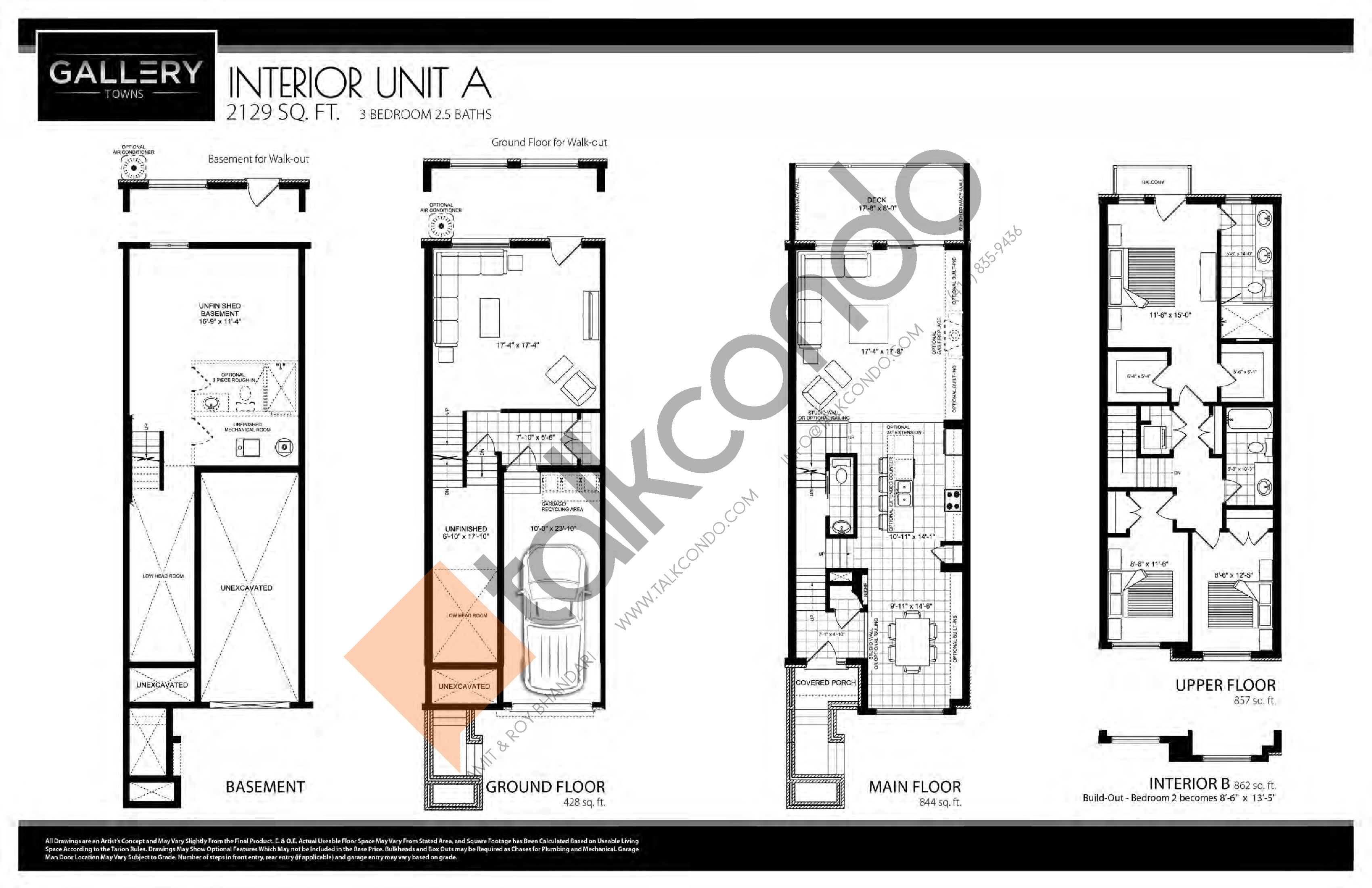 Gallery Towns  Interior Unit A  9 sq.ft.  9 bedrooms