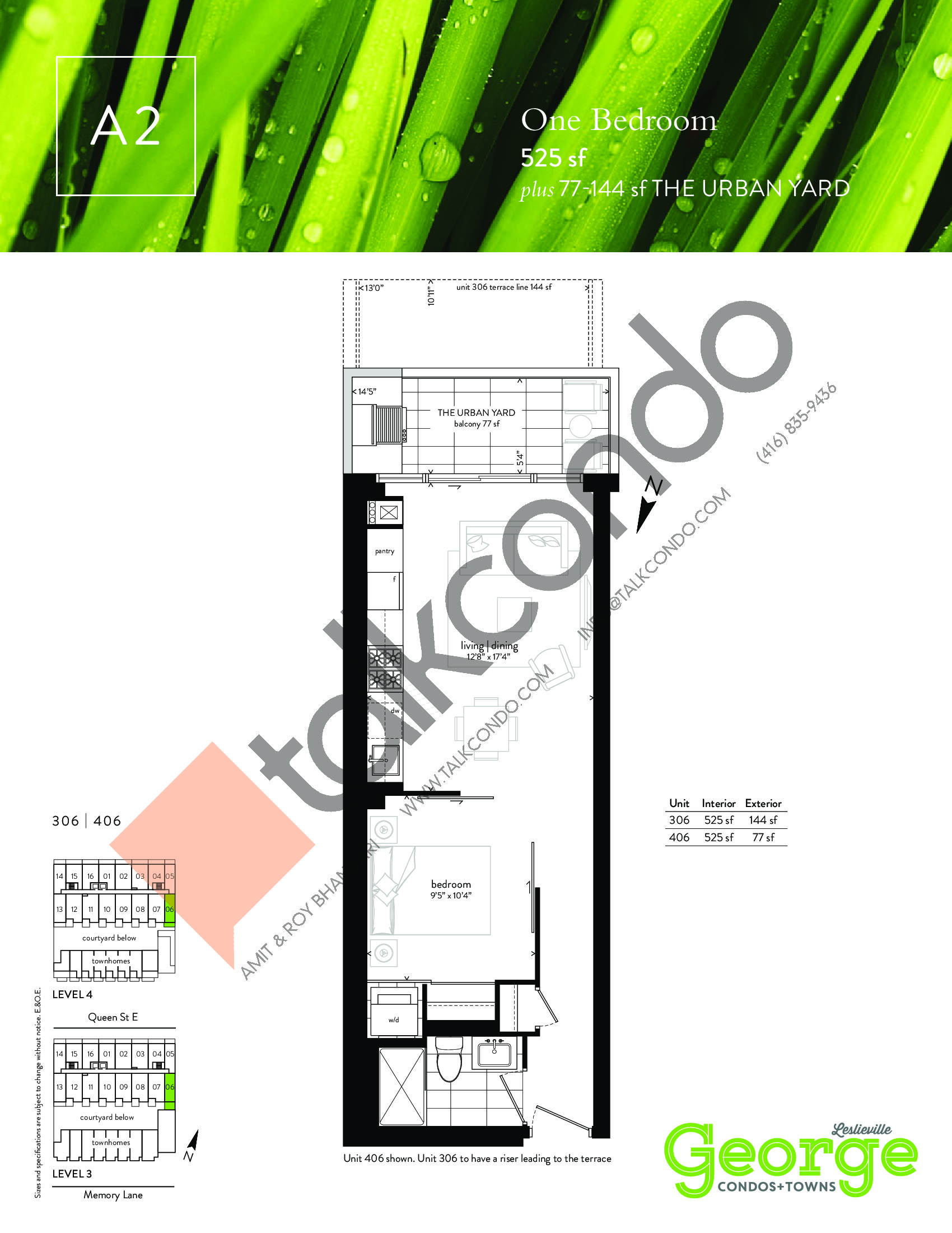 A2 Floor Plan at George Condos & Towns - 525 sq.ft