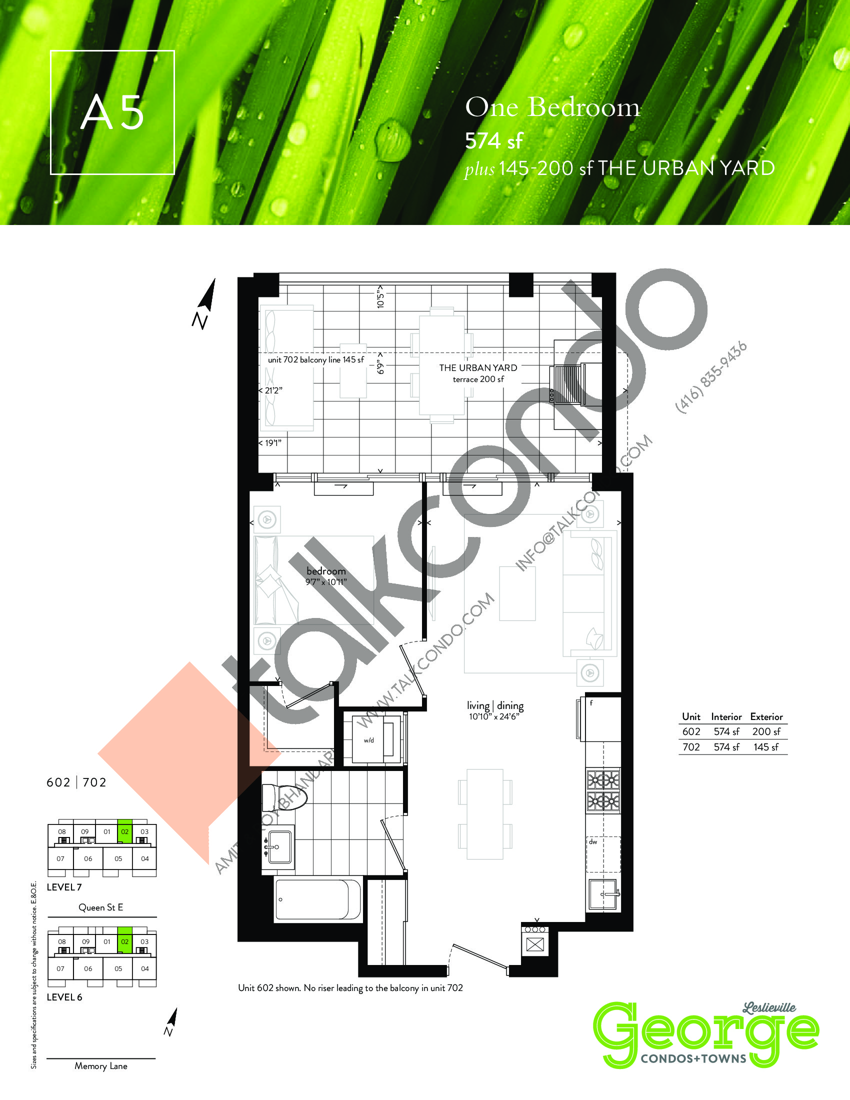 A5 Floor Plan at George Condos & Towns - 574 sq.ft