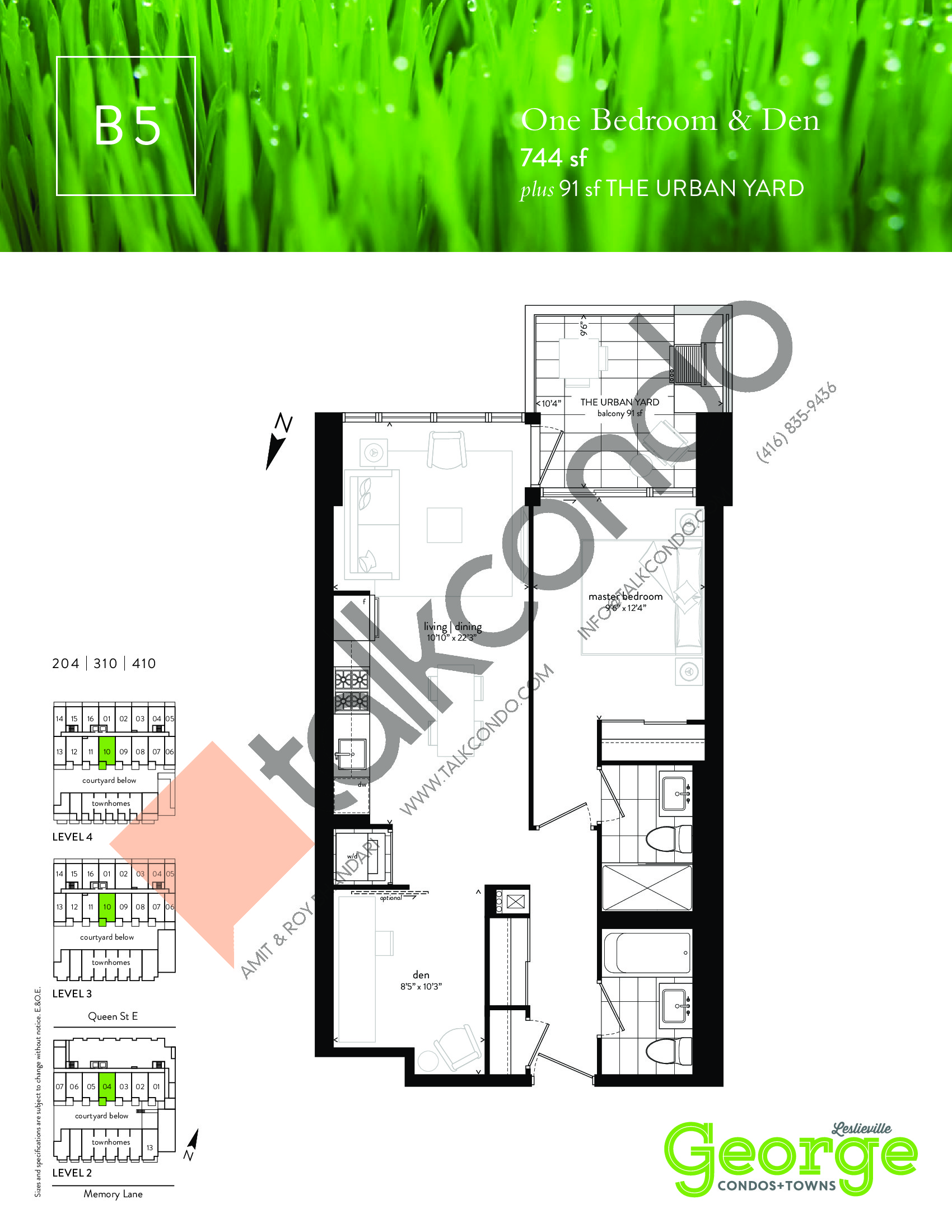 B5 Floor Plan at George Condos & Towns - 744 sq.ft