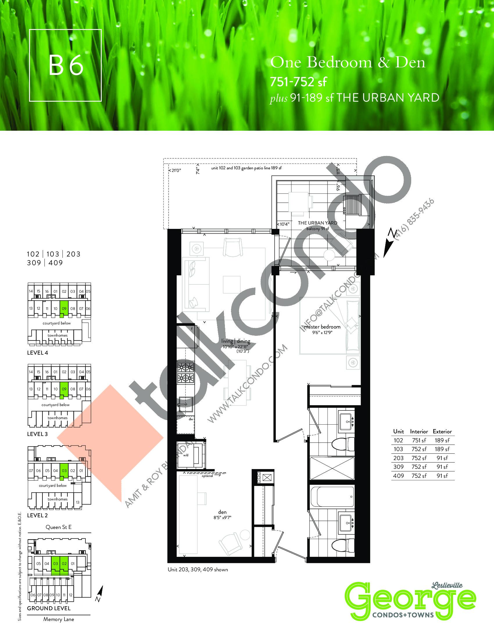 B6 Floor Plan at George Condos & Towns - 751 sq.ft