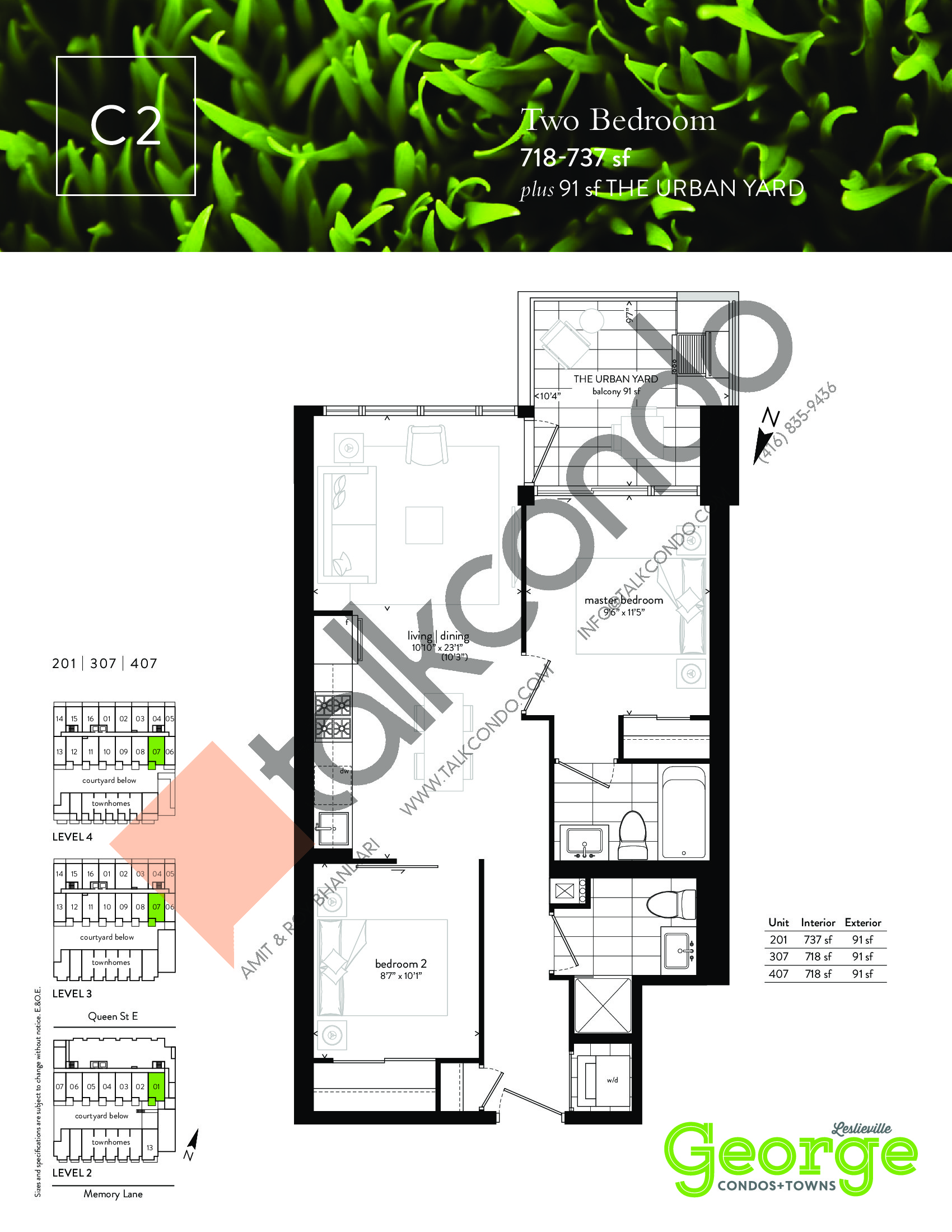 C2 Floor Plan at George Condos & Towns - 718 sq.ft
