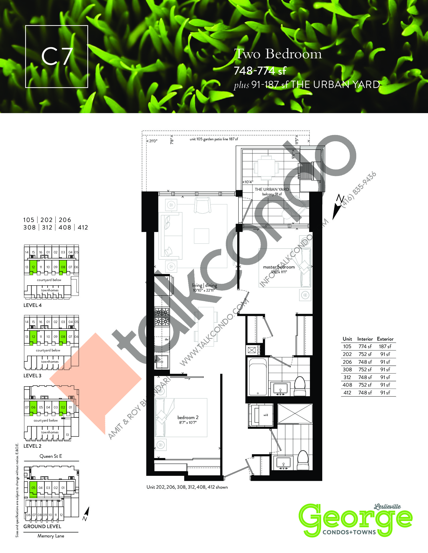 C7 Floor Plan at George Condos & Towns - 748 sq.ft