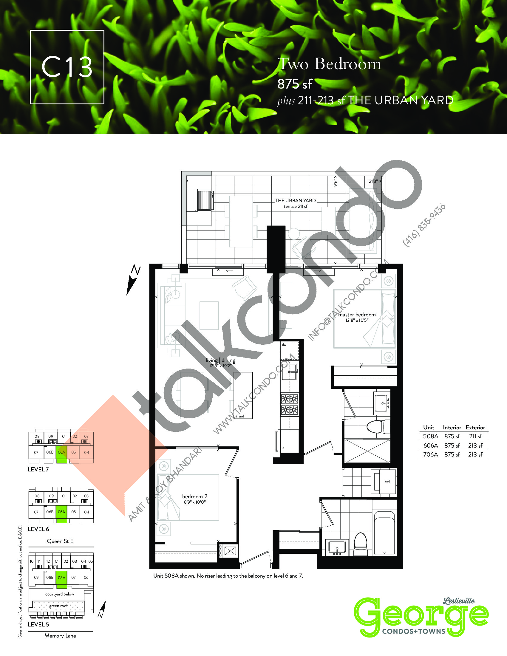 C13 Floor Plan at George Condos & Towns - 875 sq.ft
