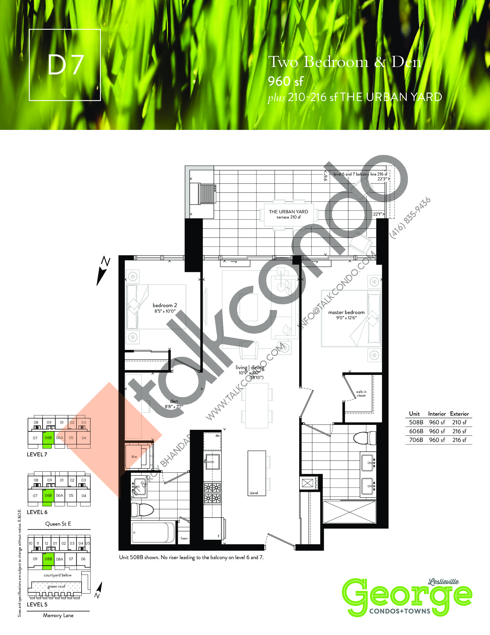 D7 Floor Plan at George Condos & Towns - 960 sq.ft