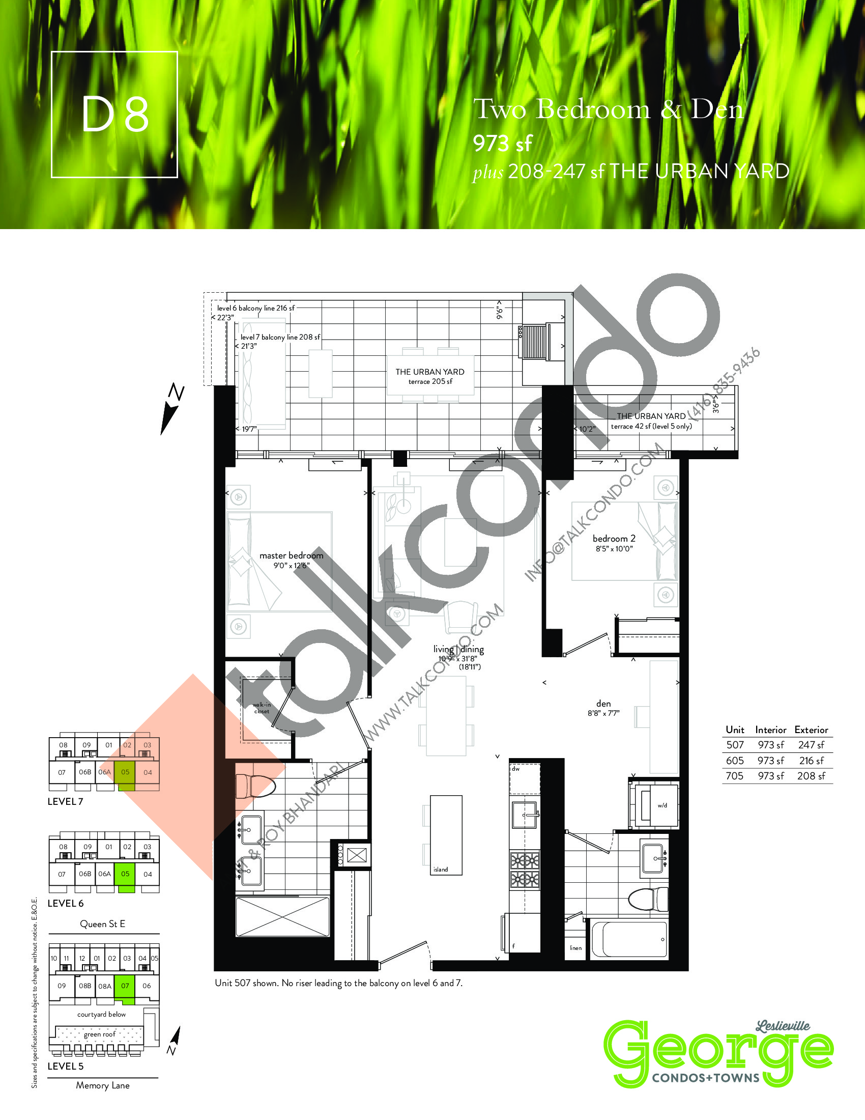 D8 Floor Plan at George Condos & Towns - 973 sq.ft