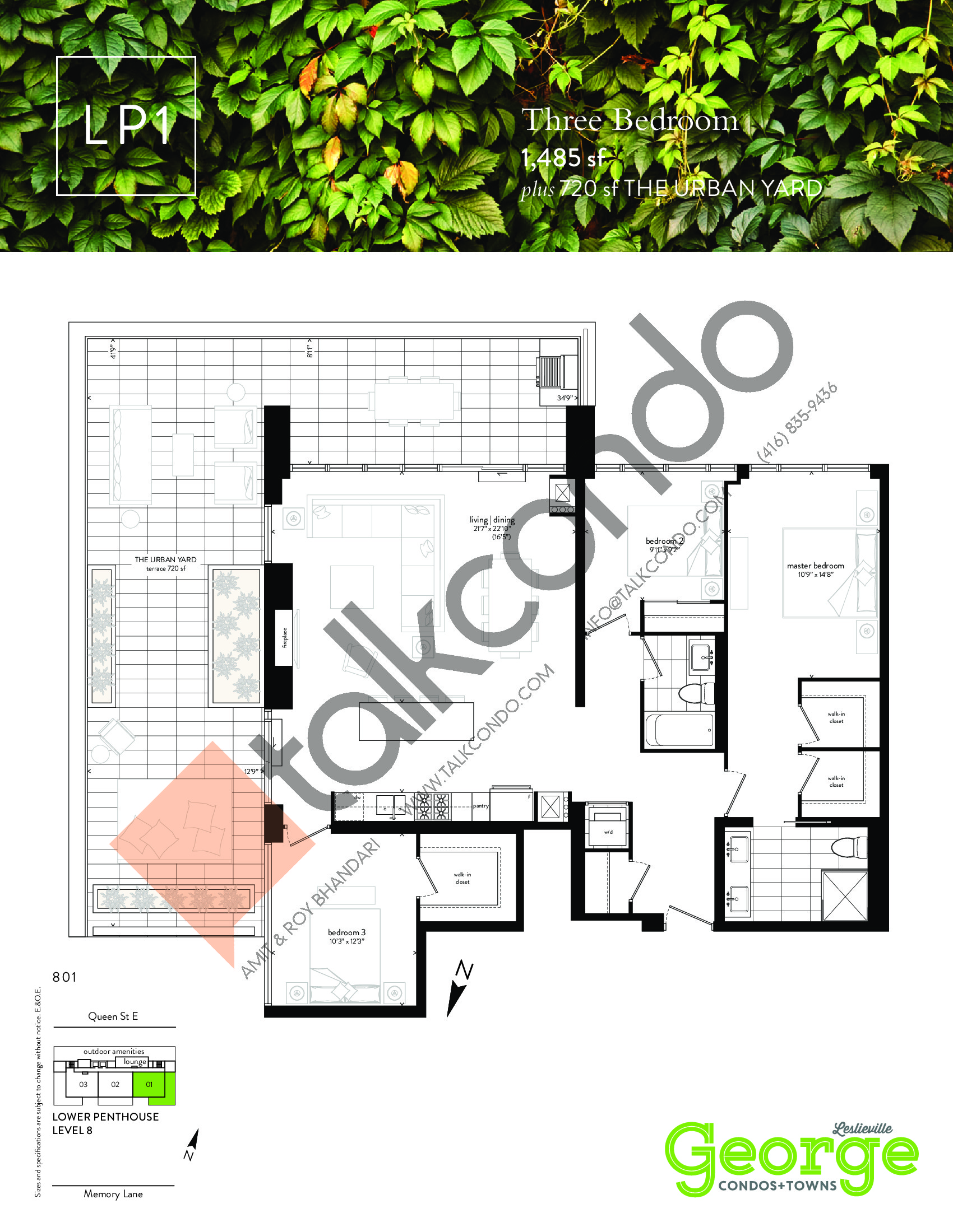 LP1 Floor Plan at George Condos & Towns - 1485 sq.ft