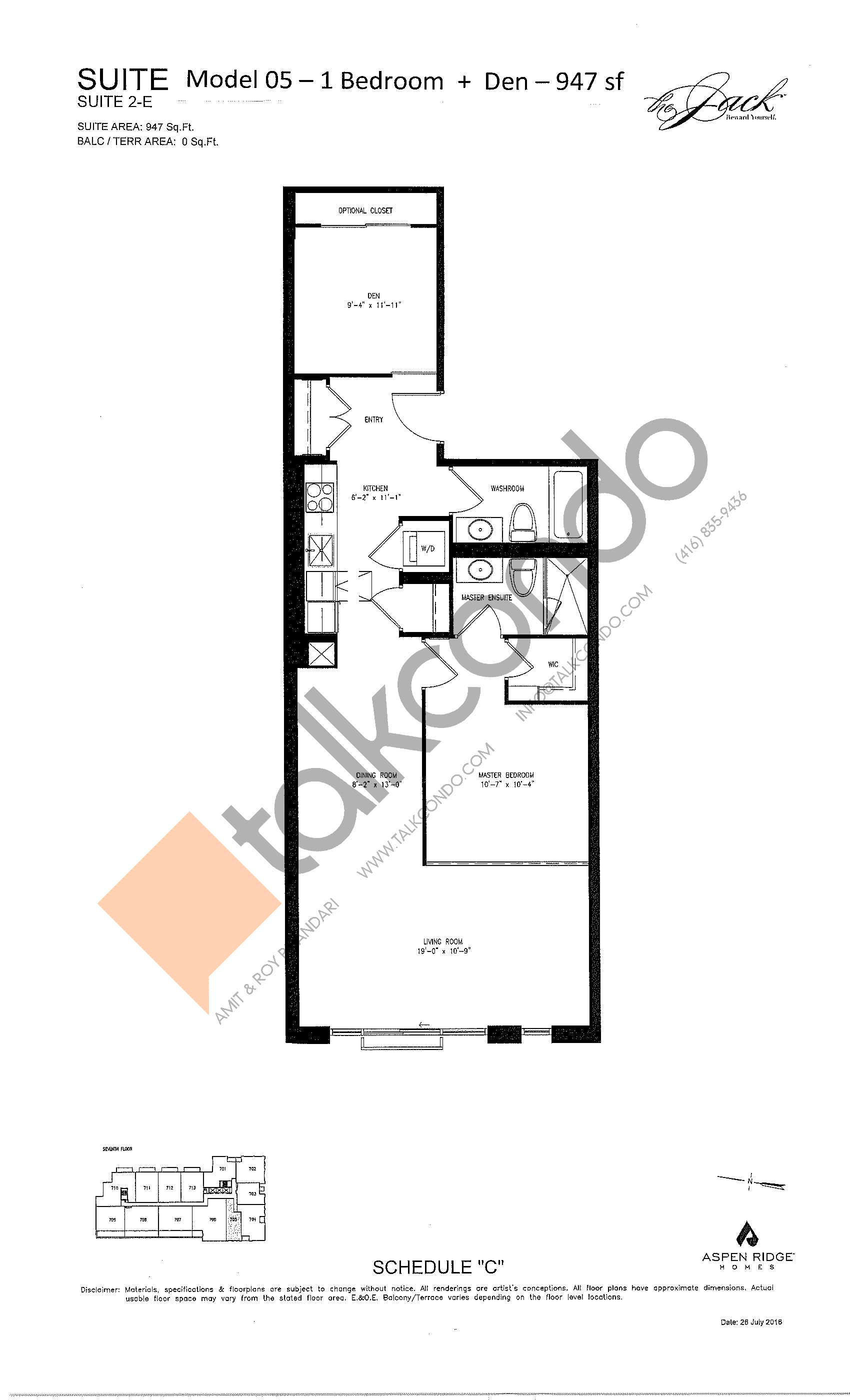 Suite 2-E Floor Plan at The Jack Condos - 947 sq.ft