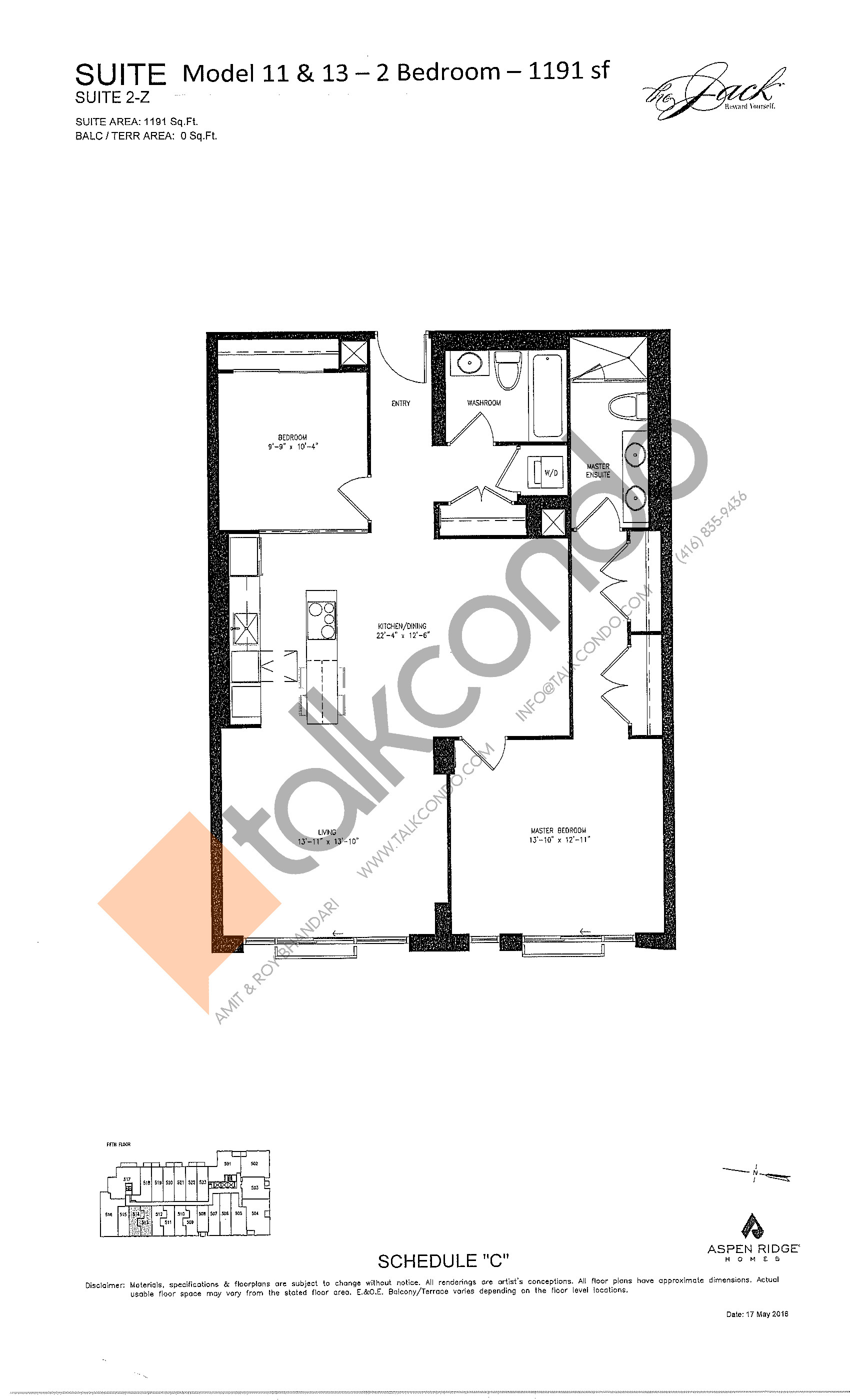 Suite 2-Z Floor Plan at The Jack Condos - 1191 sq.ft