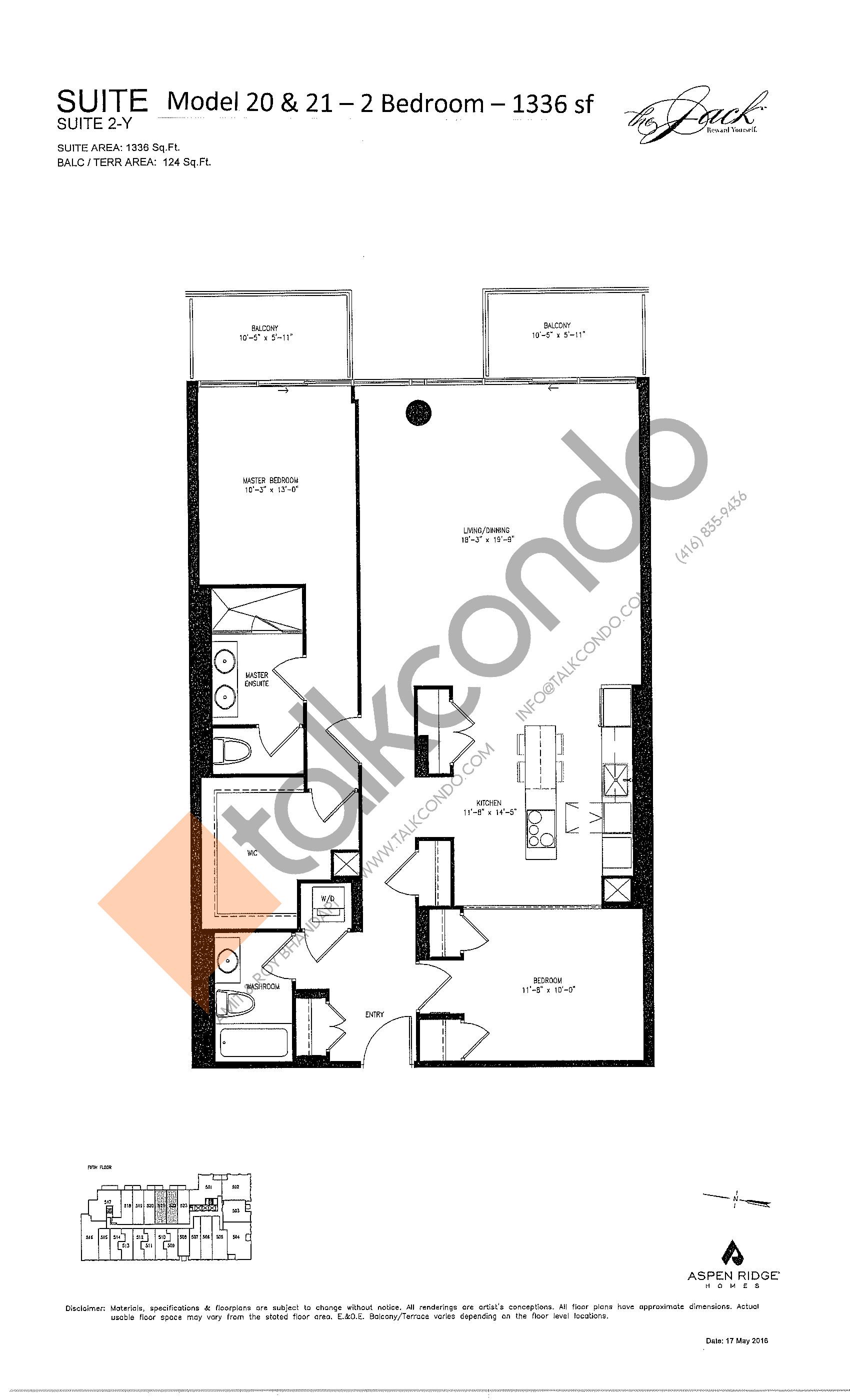Suite 2-Y Floor Plan at The Jack Condos - 1336 sq.ft