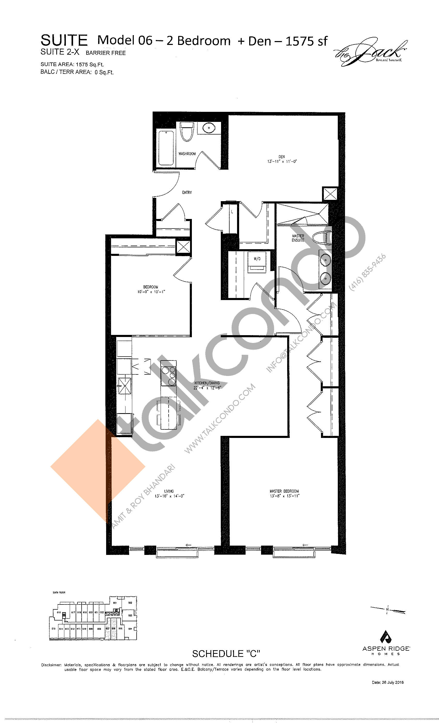 Suite 2-X Floor Plan at The Jack Condos - 1575 sq.ft