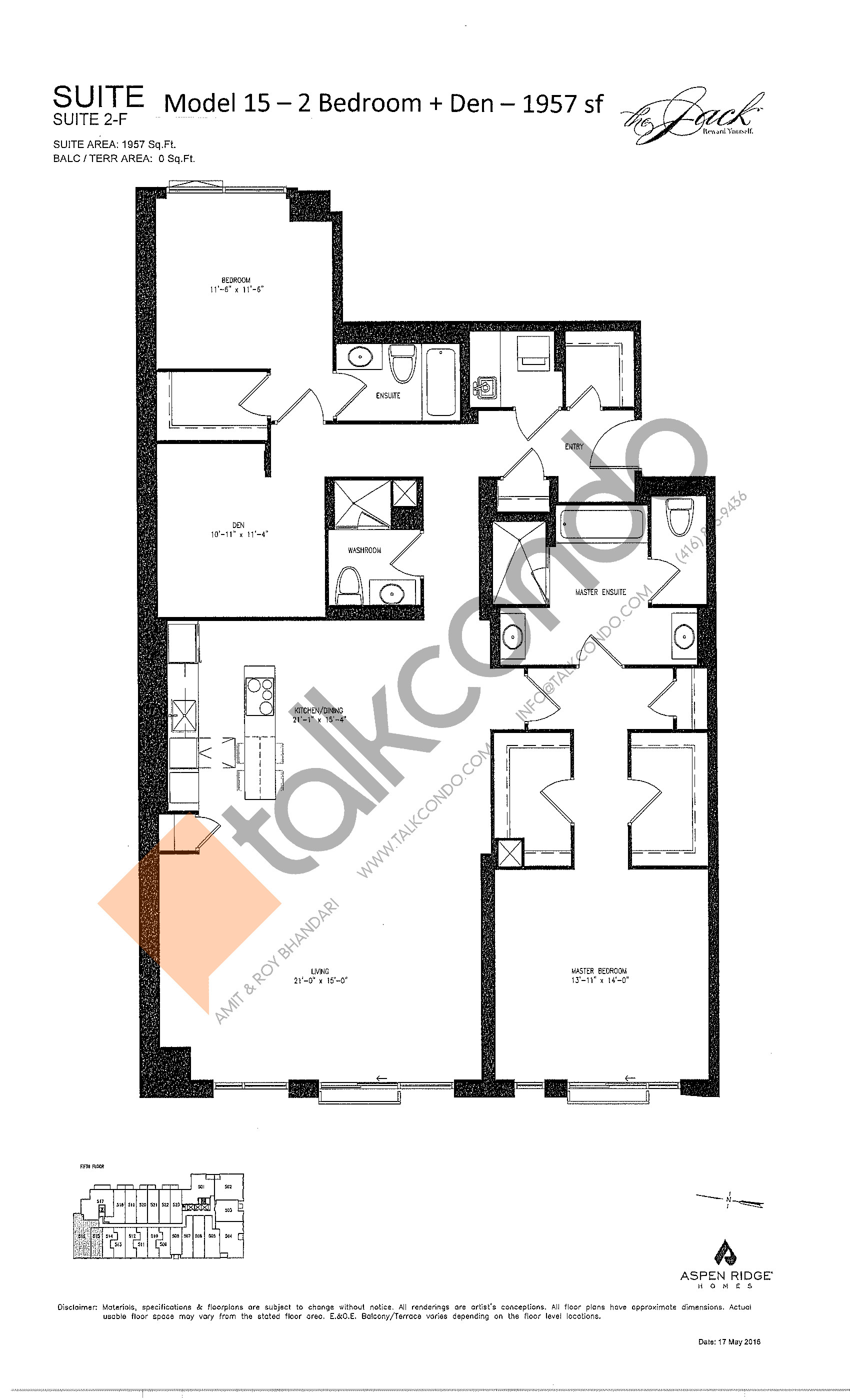Suite 2-F Floor Plan at The Jack Condos - 1957 sq.ft