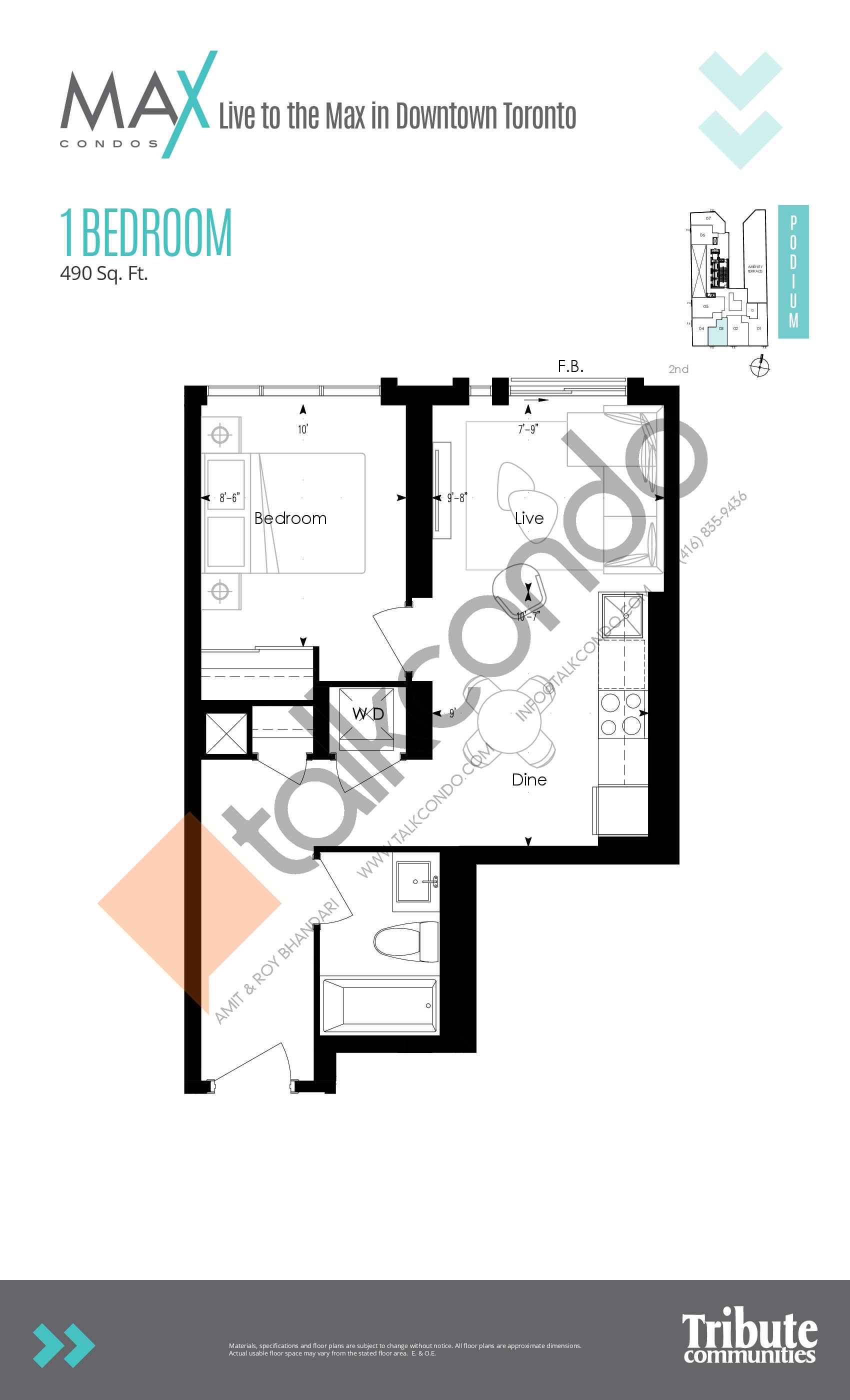 Podium 03 Floor Plan at Max Condos - 490 sq.ft