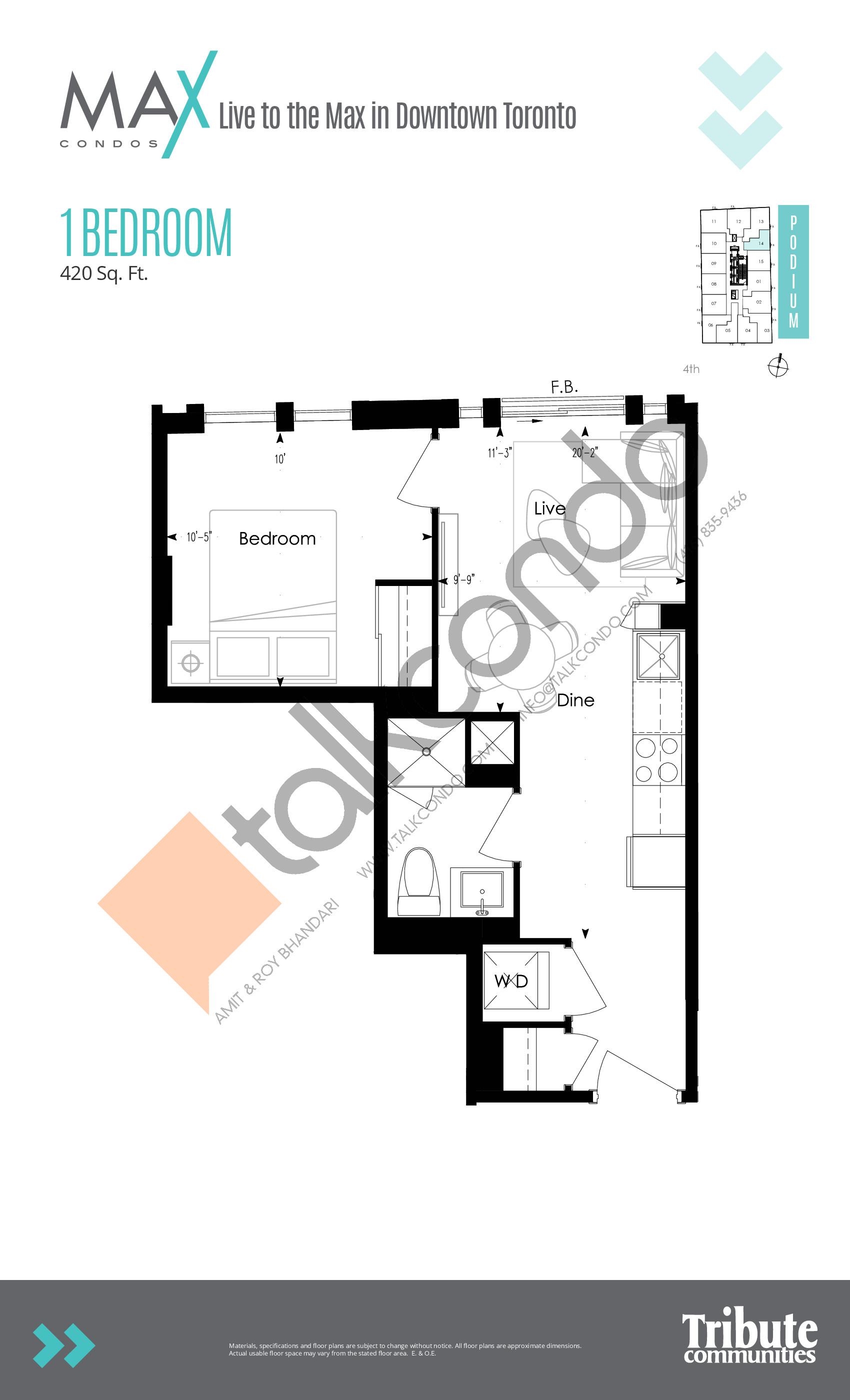 Podium 14 Floor Plan at Max Condos - 420 sq.ft