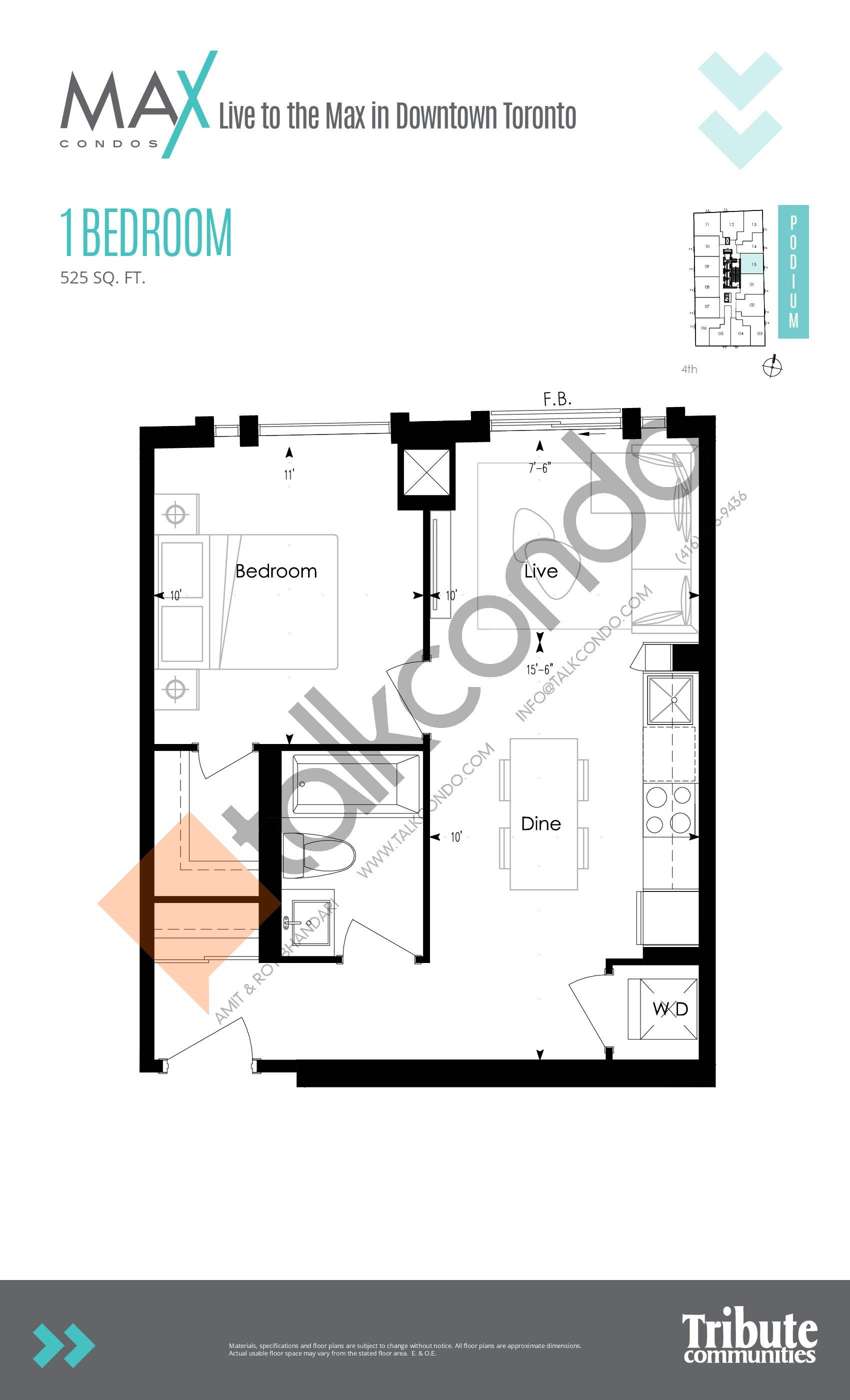 Podium 15 Floor Plan at Max Condos - 525 sq.ft