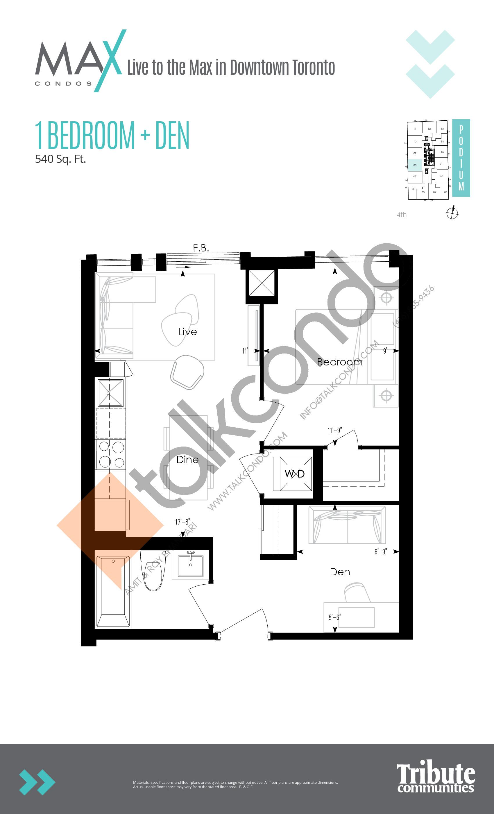 Podium 08 Floor Plan at Max Condos - 540 sq.ft