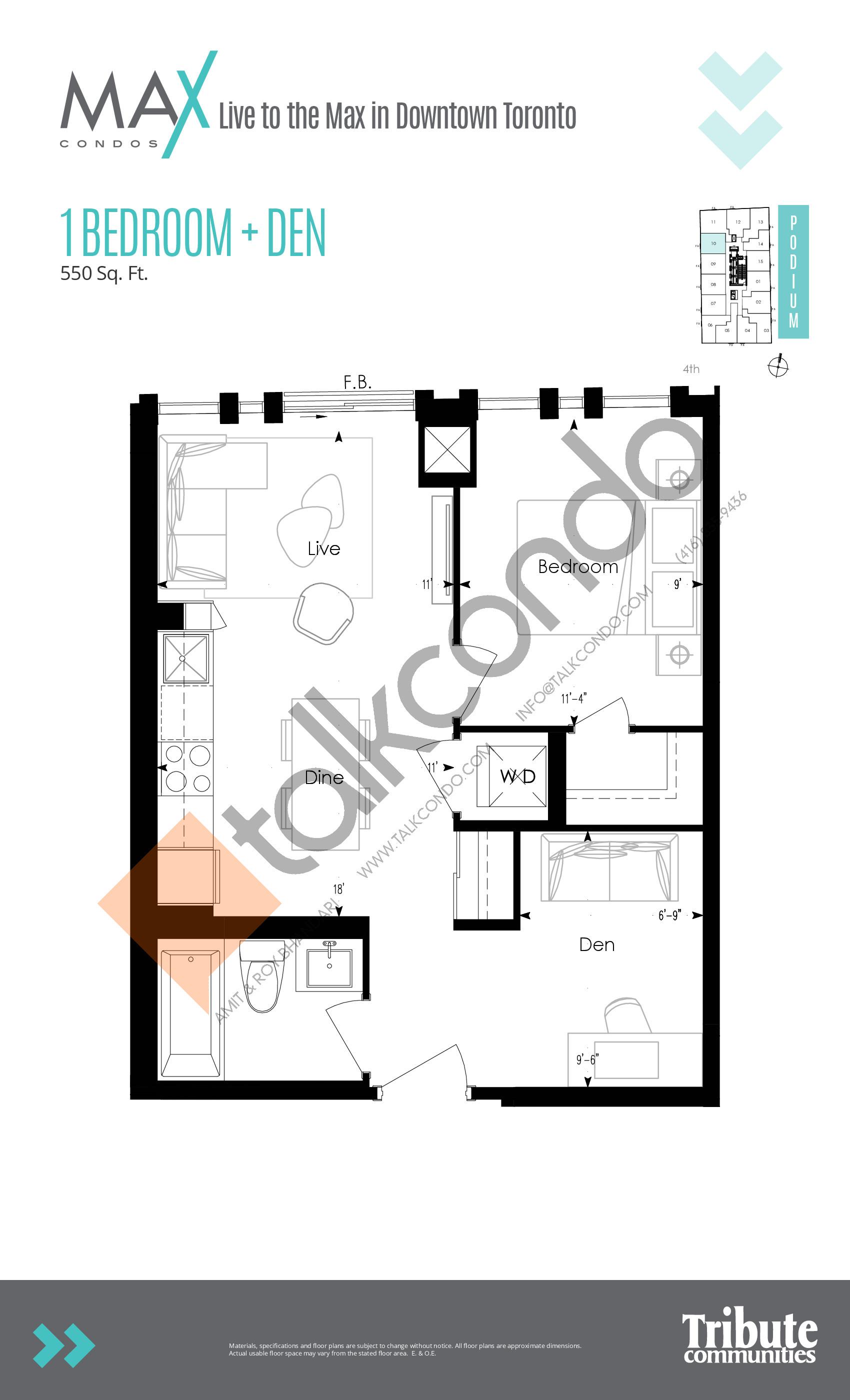 Podium 10 Floor Plan at Max Condos - 550 sq.ft