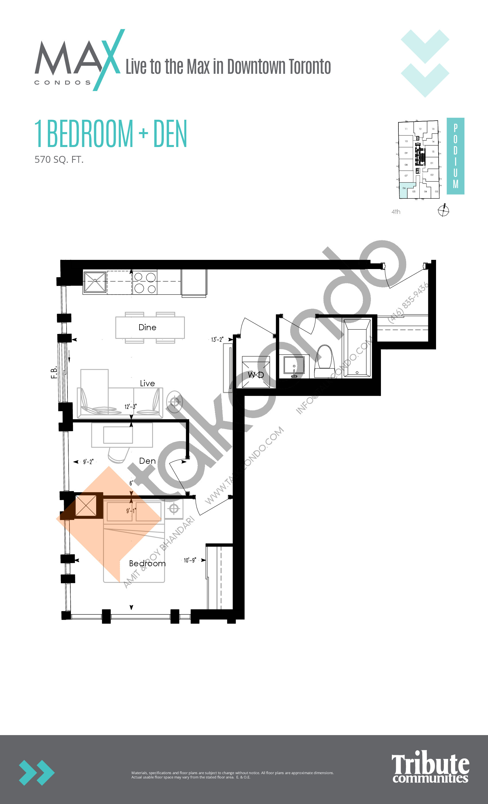 Podium 06 Floor Plan at Max Condos - 570 sq.ft