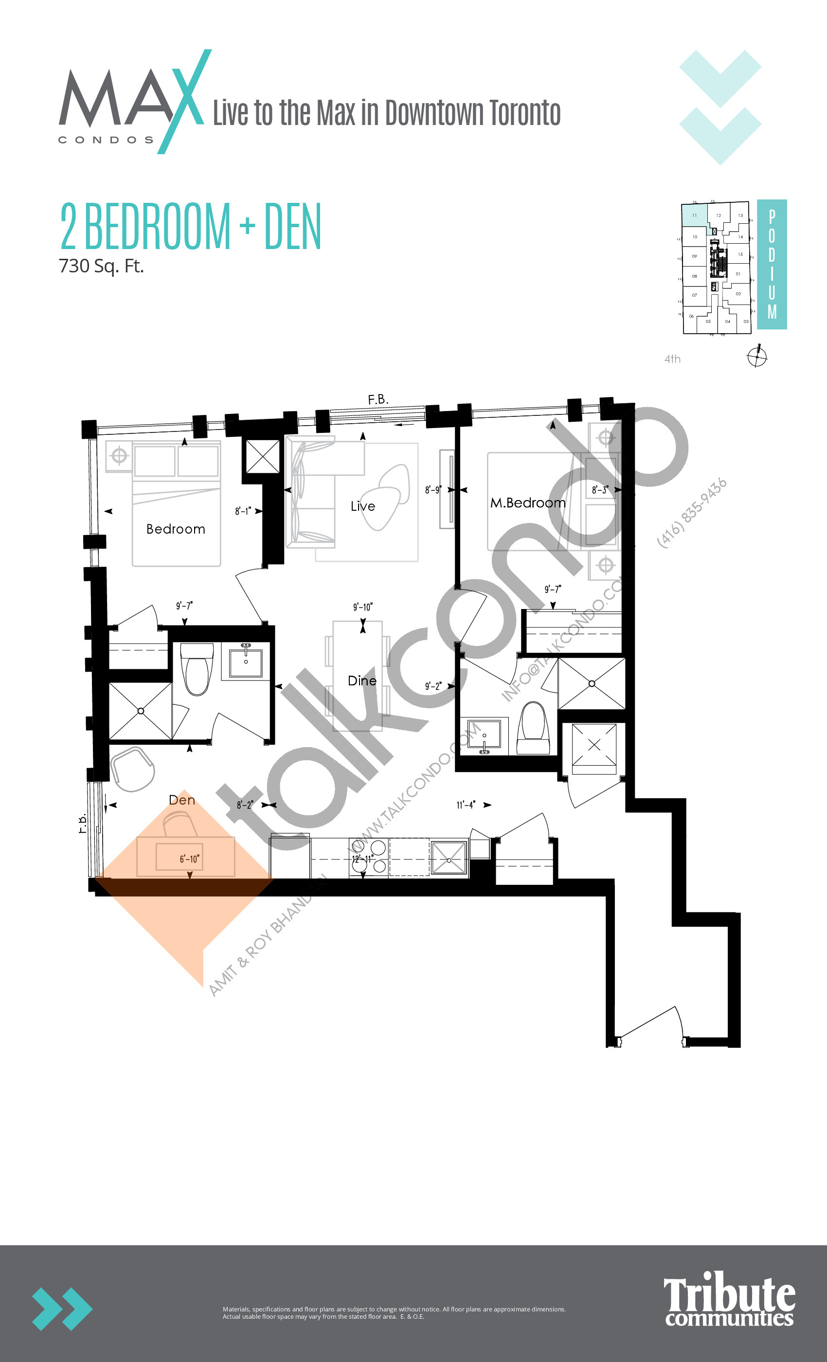 Podium 11 Floor Plan at Max Condos - 730 sq.ft