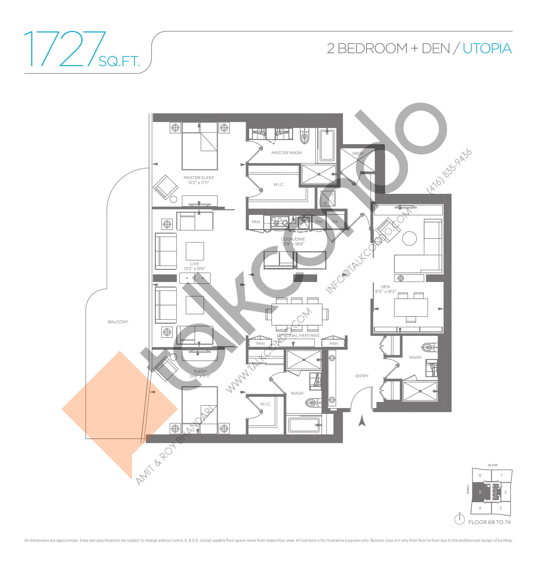 Utopia Floor Plan at One Bloor Condos - 1727 sq.ft