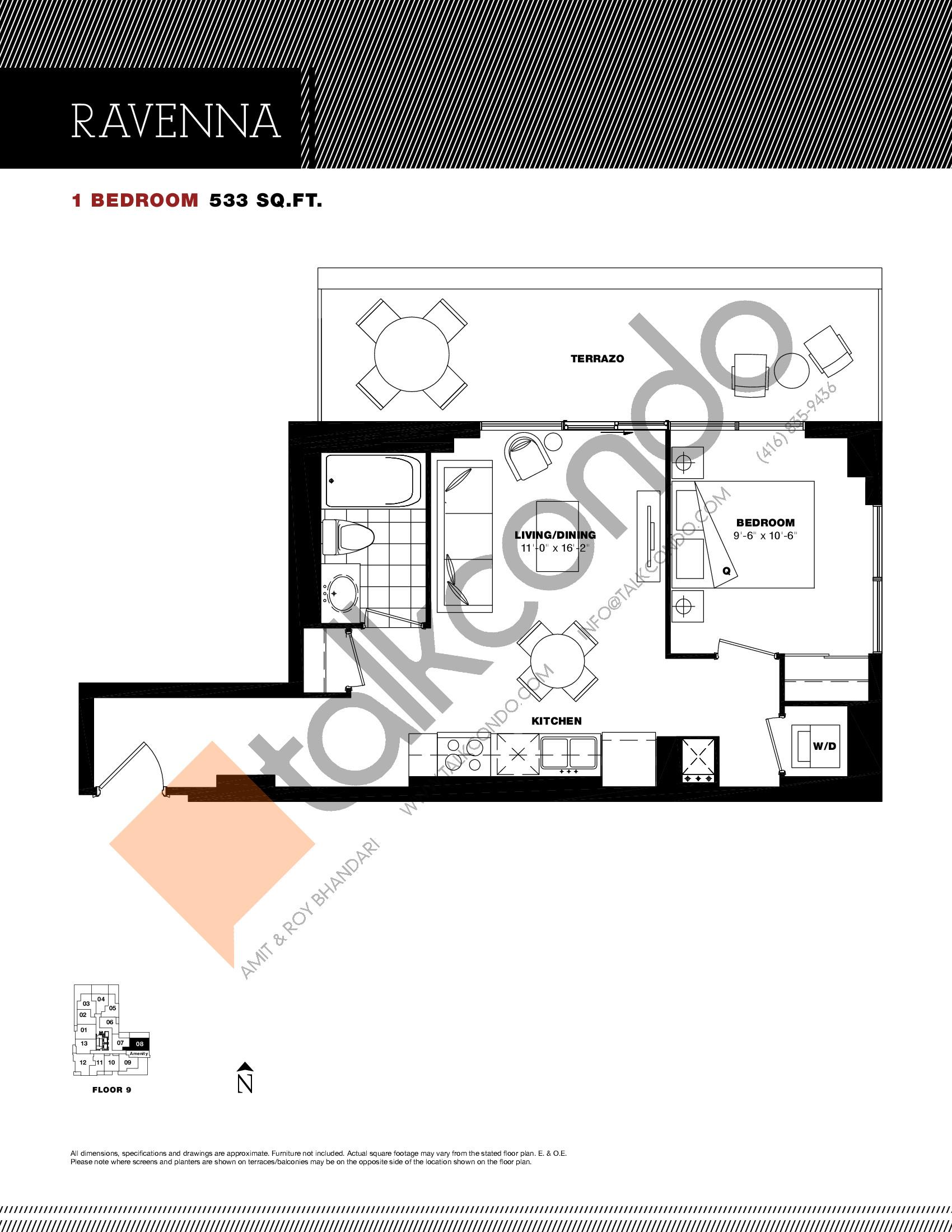 Ravenna Floor Plan at Residenze Palazzo at Treviso 3 Condos - 533 sq.ft