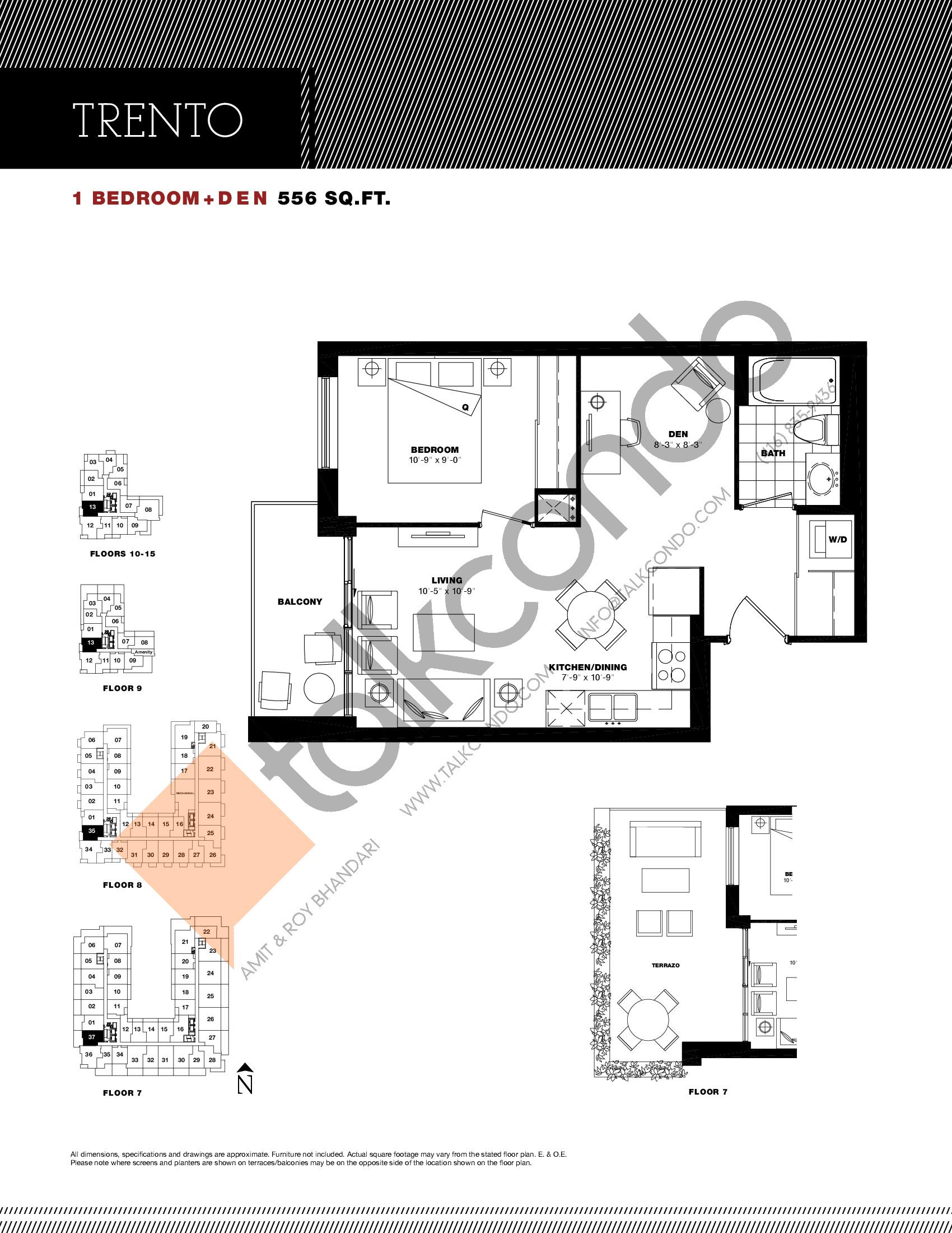 Trento Floor Plan at Residenze Palazzo at Treviso 3 Condos - 556 sq.ft