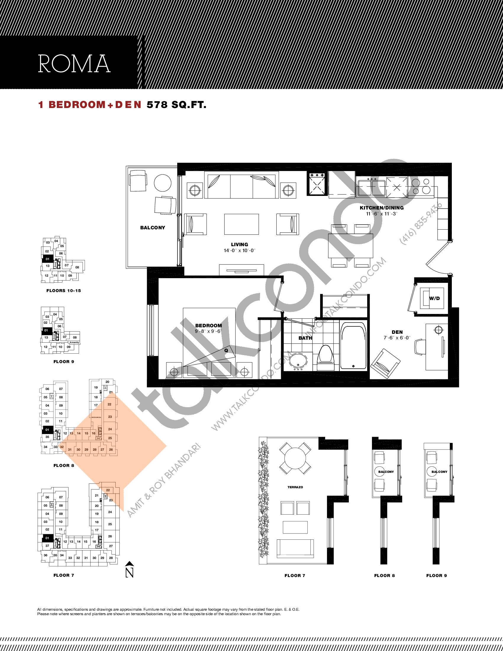 Roma Floor Plan at Residenze Palazzo at Treviso 3 Condos - 578 sq.ft