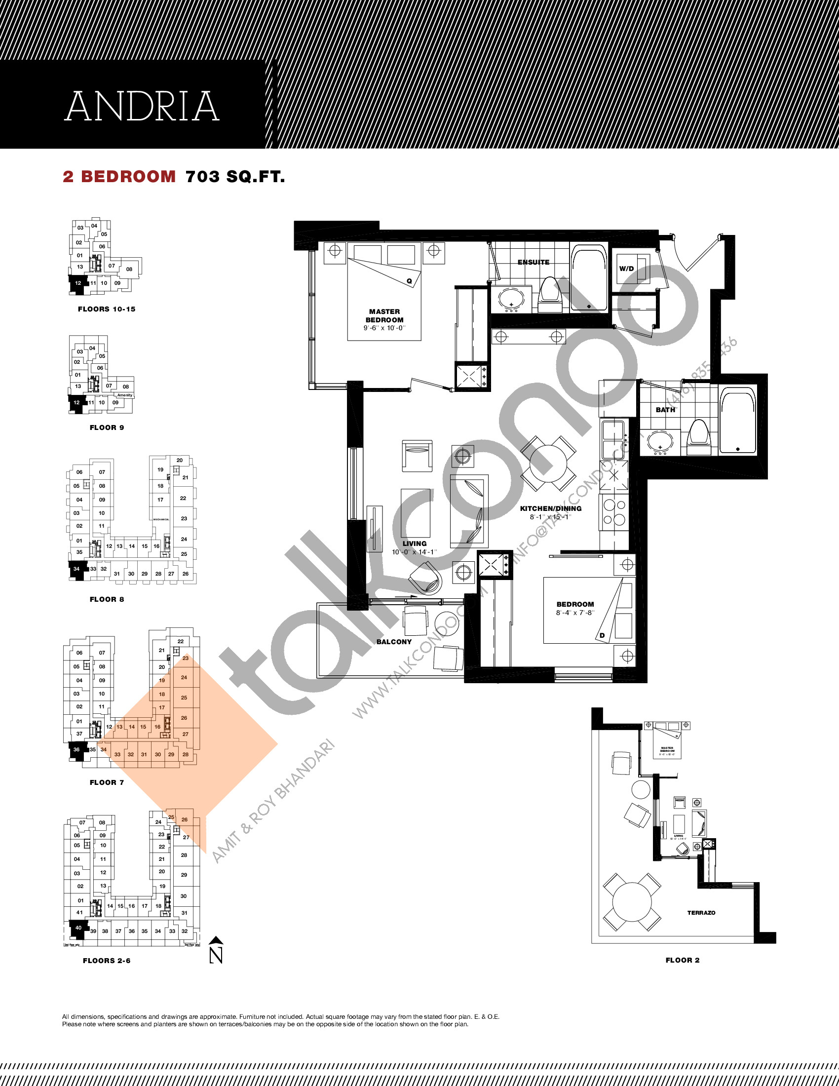 Andria Floor Plan at Residenze Palazzo at Treviso 3 Condos - 703 sq.ft