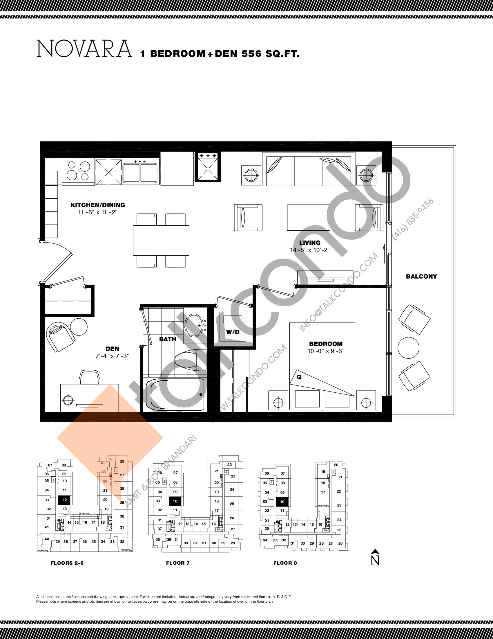 Novara Floor Plan at Residenze Palazzo at Treviso 3 Condos - 556 sq.ft
