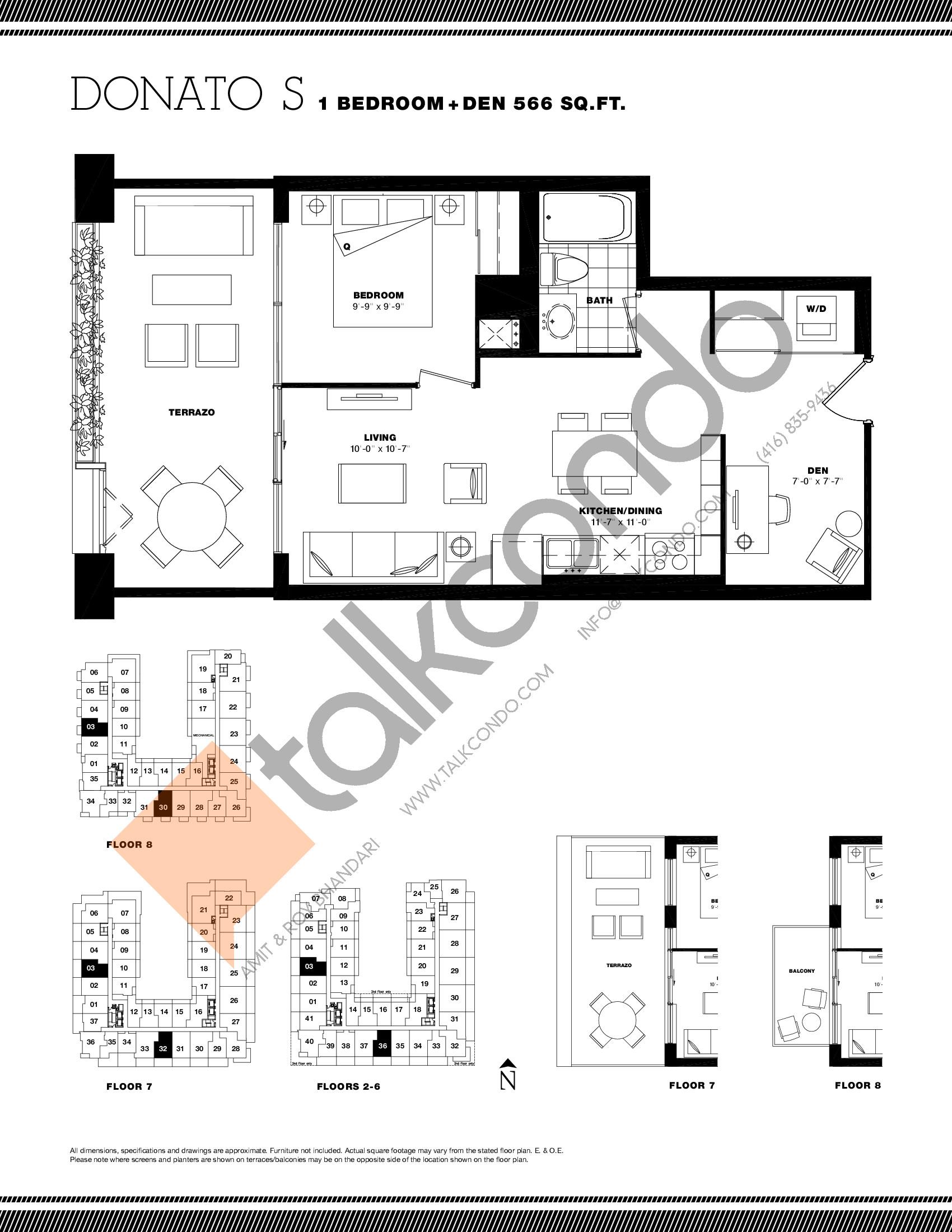 Donato S Floor Plan at Residenze Palazzo at Treviso 3 Condos - 566 sq.ft