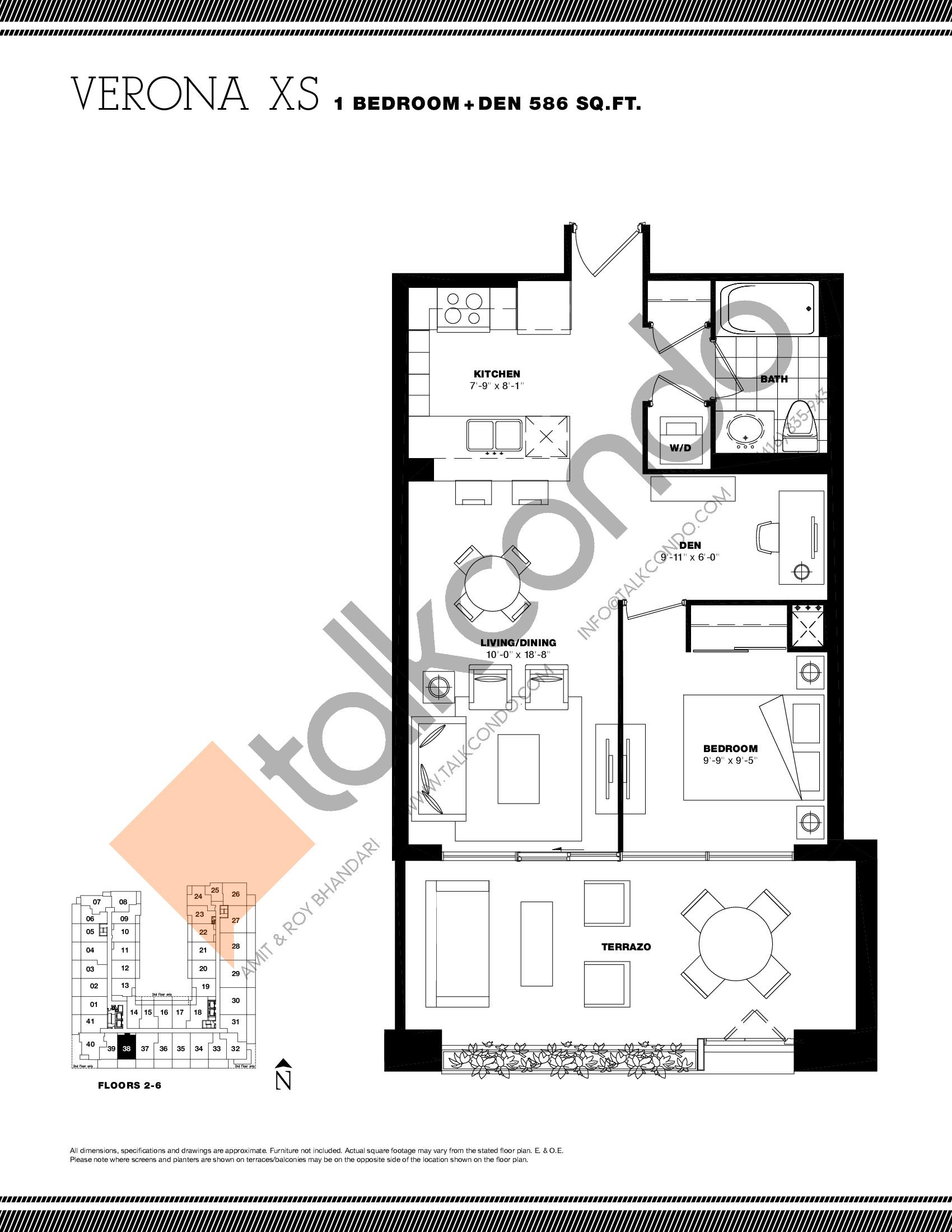 Verona XS Floor Plan at Residenze Palazzo at Treviso 3 Condos - 586 sq.ft