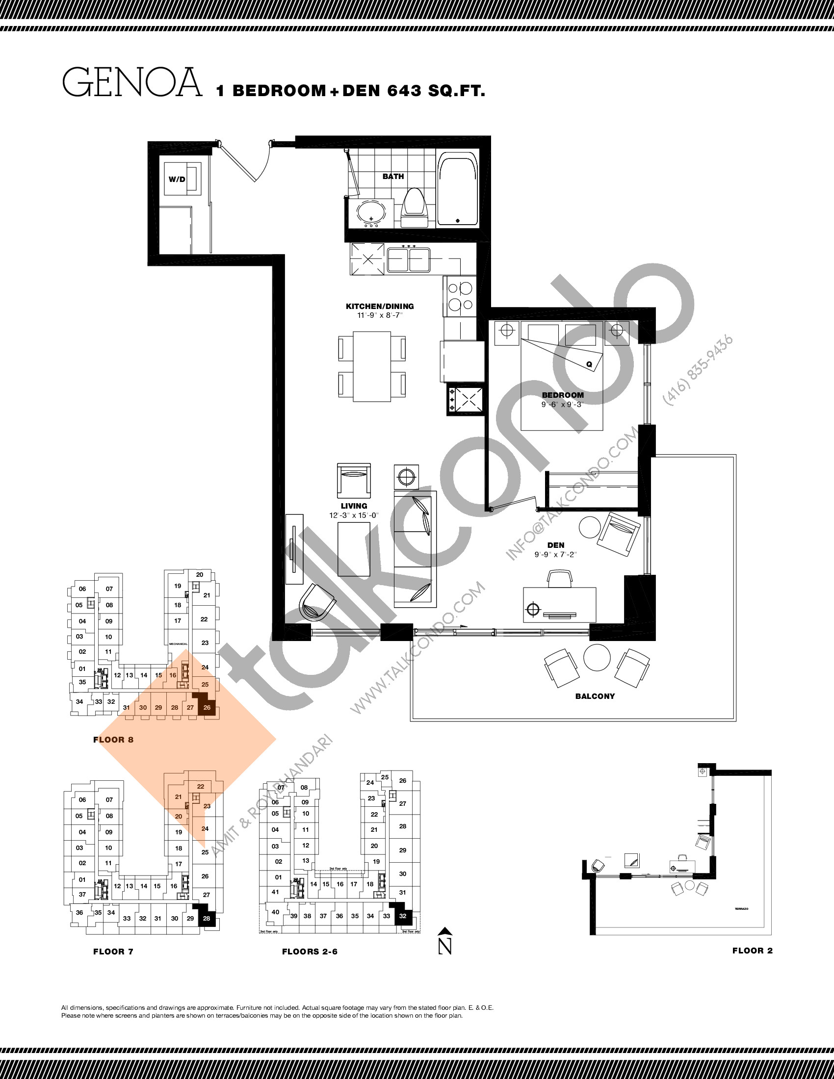 Genoa Floor Plan at Residenze Palazzo at Treviso 3 Condos - 643 sq.ft